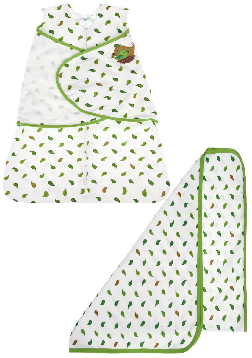 Подарочный набор Babydays Птичка: спальный конверт, пеленка. bd20002. Размер NB (48/58), 0-3 месяца0601-400 LNA_белый _58-66 см. (3-6, S), 76х101 смНабор Babydays Птичка - это замечательный подарок, который прекрасно подойдет для младенца. Комплект состоит из двух предметов: спального конверта и пеленки. Изготовленный из натурального хлопка, он необычайно мягкий и приятный на ощупь, позволяет коже дышать, не раздражает даже самую нежную и чувствительную кожу ребенка, обеспечивая ему наибольший комфорт. Конверт застегивается на пластиковую застежку-молнию снизу вверх, что делает удобным смену подгузников и не травмирует подбородок малыша, и дополнительно запахом на липучки. Модель спального конверта позволяет держать руки малыша как внутри, так и снаружи. Оформлено изделие принтом с изображением листочков, а также аппликацией в виде птички. Многофункциональная пеленка является важным атрибутом по уходу за новорожденным. Модель прямоугольной формы оформлена тем же принтом, что и конверт. Постельные принадлежности помогают сделать сон малыша комфортным и безопасным. Комплект полностью соответствует особенностям жизни ребенка в ранний период.