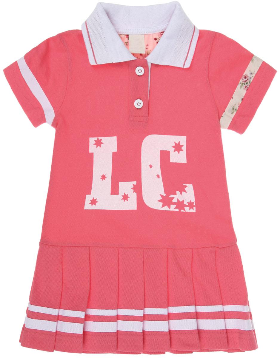 Платье для девочки Lucky Child Поло, цвет: коралловый, белый. 40-60. Размер 68/74, 3-6 месяцев40-60Стильное платье для девочки Lucky Child Поло идеально подойдет вашей маленькой моднице. Изготовленное из натурального хлопка, оно мягкое и приятное на ощупь, не сковывает движения и позволяет коже дышать, не раздражает даже самую нежную и чувствительную кожу ребенка, обеспечивая наибольший комфорт. Платье с отложным воротничком-поло и короткими рукавами на груди имеет небольшую застежку на две пуговички, что облегчает процесс переодевания. От заниженной линии талии отходят крупные складки, придающие изделию пышность. На груди модель оформлена принтовой надписью. Современный дизайн и модная расцветка делают это платье незаменимым предметом детского гардероба. В нем вашей маленькой леди будет комфортно и уютно, и она всегда будет в центре внимания!