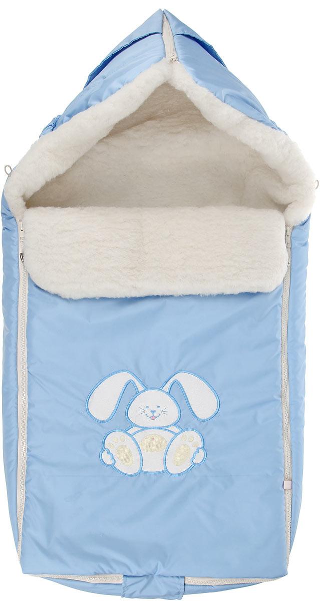 Конверт для новорожденного Сонный Гномик Зайчик, цвет: голубой. 969/1. Возраст 0/9 месяцев969/1Теплый конверт для новорожденного Сонный Гномик Зайчик идеально подойдет для ребенка в холодное время года. Конверт изготовлен из водоотталкивающей и ветрозащитной ткани Dewspo (100% полиэстер) на подкладке из шерсти с добавлением полиэстера. В качестве утеплителя используется шелтер (100% полиэстер).Шелтер (Shelter) - утеплитель нового поколения с тонкими волокнами. Его более мягкие ячейки лучше удерживают воздух, эффективнее сохраняя тепло. Более частые связи между волокнами делают утеплитель прочным и позволяют сохранить его свойства даже после многократных стирок. Утеплитель шелтер максимально защищает от холода и не стесняет движений.Верхняя часть конверта может использоваться в качестве капюшона в ветреную или холодную погоду и надеваться на спинку коляски благодаря эластичным ремешкам и вставке. С помощью застежки-молнии верх принимает вид треугольного капюшона. Пластиковая застежка-молния по бокам и нижнему краю изделия помогает с легкостью доставать малыша из конверта, не тревожа его сон. Модель раскладывается на два отдельных коврика. Спереди предусмотрен отворот, фиксирующийся с помощью декоративных пуговиц. Оформлена модель аппликацией в виде забавного зайчика. Конверт заменит лишние теплые кофточки и штанишки, и, значит, свободу малыша ничто не будет ограничивать. Комфортный, удобный и практичный, этот конверт идеально подойдет для прогулок на свежем воздухе!