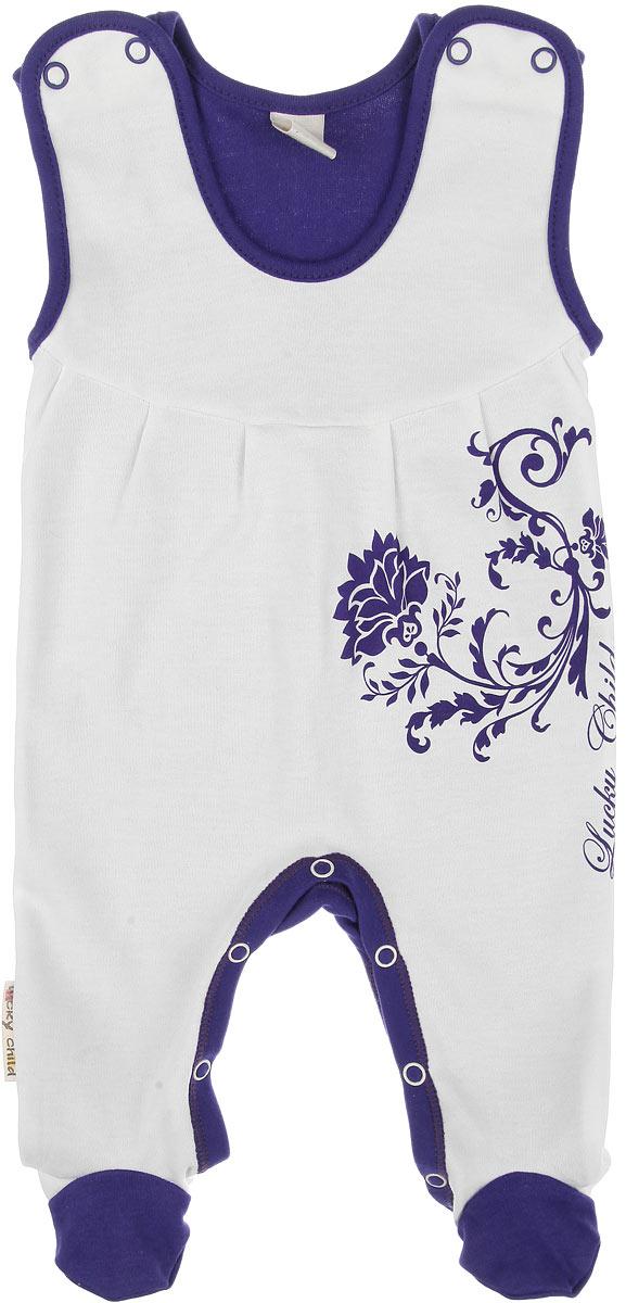 Ползунки с грудкой для девочки Lucky Child Нежность, цвет: фиолетовый, молочный. 15-2. Размер 80/86, 12-18 месяцев