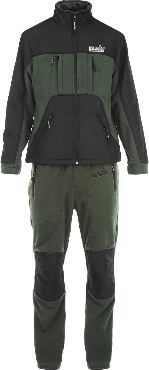 Костюм рыболовный мужской Norfin Ultimate Protection: куртка, брюки, цвет: зеленый, черный. 33700. Размер XXXL (56/58)33700Мягкий, прочный флисовый костюм Norfin Ultimate Protection состоит из куртки и брюк. Куртка своротником-стойкой и застежкой-молнией имеет два теплых боковых кармана длясогрева рук и два кармана на груди, в нижней части куртки имеется регулировка-стяжка с фиксаторами для дополнительной защиты от ветра и холода. Курткаоснащена внутренней сетчатой вентиляционной подкладкой. Брюкиоформлены эластичным поясом с потайной кулиской и двумя втачными карманами. Также имеетсяусиление материалом на плечах, локтях и карманах и в области колен. Все карманызастегиваются на застежки-молнии.Костюм Norfin Ultimate Protection идеальноподходит для отдыха на природе.