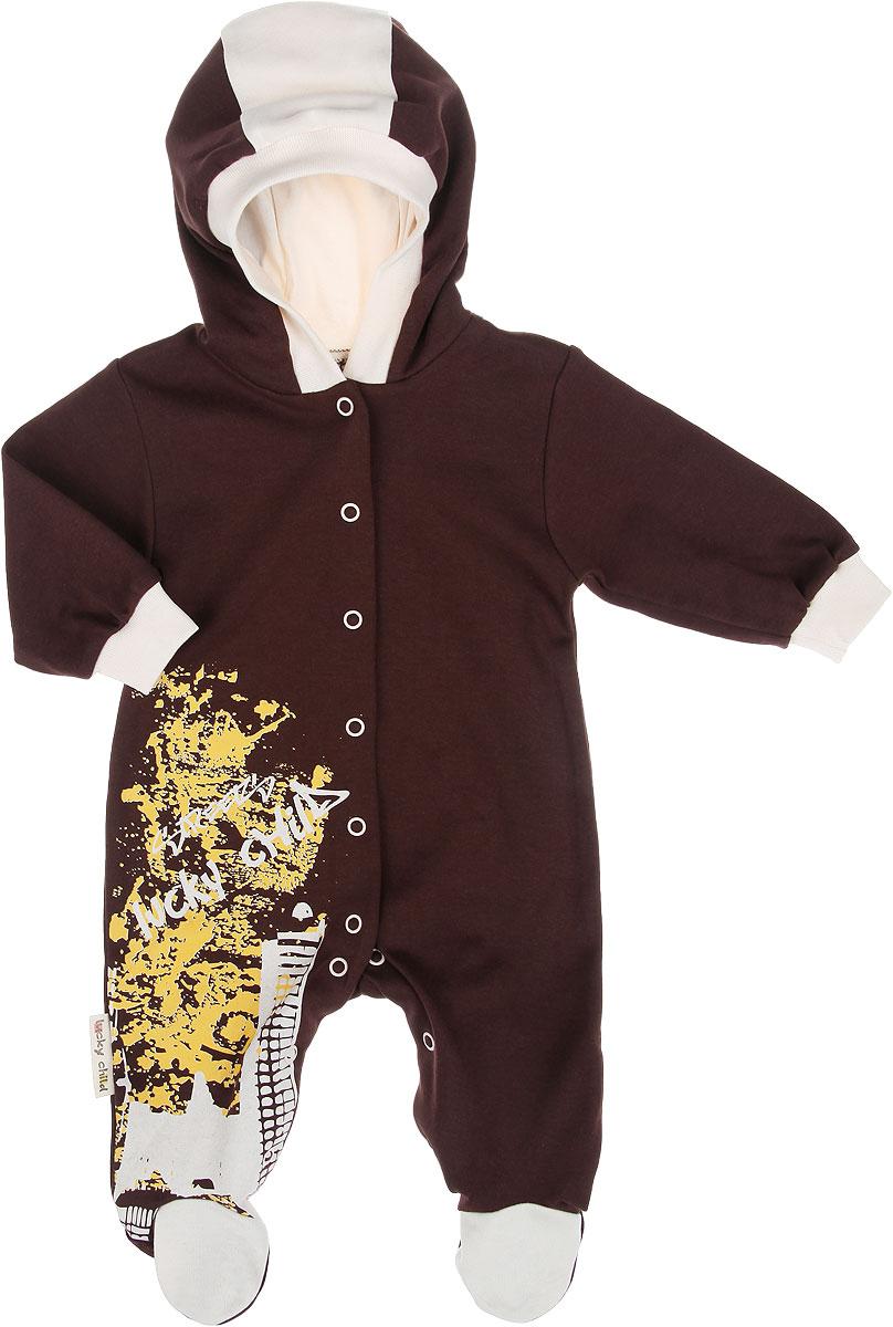 Комбинезон детский Lucky Child Город, цвет: коричневый, молочный. 16-3. Размер 56/6216-3Детский комбинезон Lucky Child Город - очень удобный и практичный вид одежды для малышей. Комбинезон выполнен из интерлока - натурального хлопка, благодаря чему он необычайно мягкий и приятный на ощупь, не раздражает нежную кожу ребенка и хорошо вентилируется, а эластичные швы приятны телу и не препятствуют его движениям. Комбинезон с капюшоном, длинными рукавами и закрытыми ножками имеет застежки-кнопки от горловины до щиколоток, которые помогают легко переодеть младенца или сменить подгузник. Край капюшона и низ рукавов дополнены трикотажными резинками. Изделие спереди оформлено оригинальной термоаппликацией. С детским комбинезоном Lucky Child спинка и ножки вашего крохи всегда будут в тепле, он идеален для использования днем и незаменим ночью. Комбинезон полностью соответствует особенностям жизни младенца в ранний период, не стесняя и не ограничивая его в движениях!