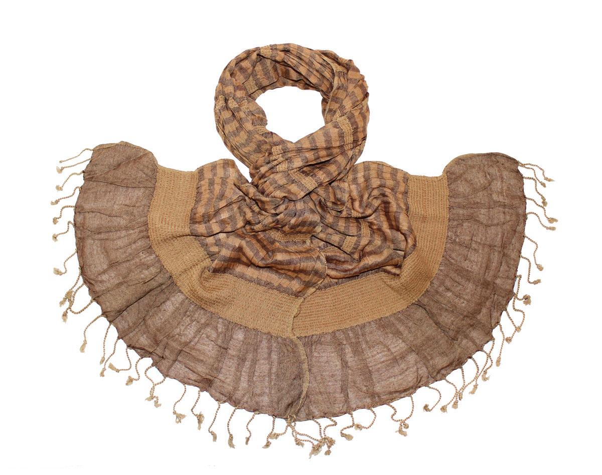 Шарф женский Ethnica, цвет: коричневый. 173075н. Размер 50 см х 170 см173075нЖенский шарф Ethnica, изготовленный из 100% вискозы, подчеркнет вашу индивидуальность. Благодаря своему составу, он легкий, мягкий и приятный на ощупь. Изделие выполнено в оригинальном дизайне и дополнено кисточками.Такой аксессуар станет стильным дополнением к гардеробу современной женщины.