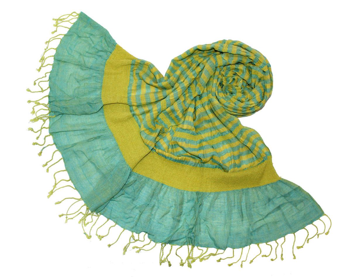 Шарф женский Ethnica, цвет: желтый, голубой. 173075н. Размер 50 см х 170 см173075нЖенский шарф Ethnica, изготовленный из 100% вискозы, подчеркнет вашу индивидуальность. Благодаря своему составу, он легкий, мягкий и приятный на ощупь. Изделие выполнено в оригинальном дизайне и дополнено кисточками.Такой аксессуар станет стильным дополнением к гардеробу современной женщины.