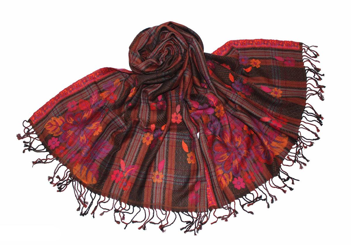 Палантин Ethnica, цвет: черный, коричневый, розовый. 275720н. Размер 70 х 180 см275720нЭффектный палантин Ethnica подчеркнет ваш неповторимый стиль. Изделие выполнено из 100% шерсти и оформлено оригинальным принтом.Этот модный аксессуар гармонично дополнит ваш образ.