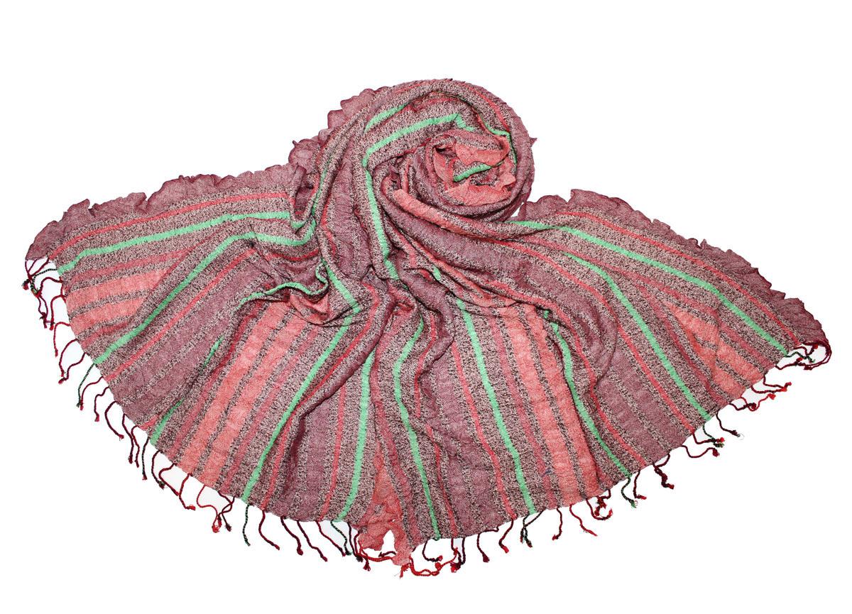 Палантин Ethnica, цвет: бордовый, коралловый, мятный. 483200н. Размер 70 х 180 см483200нЭффектный палантин Ethnica подчеркнет ваш неповторимый стиль. Изделие выполнено из 100% вискозы и оформлено оригинальным принтом в полоску.Этот модный аксессуар гармонично дополнит ваш образ.
