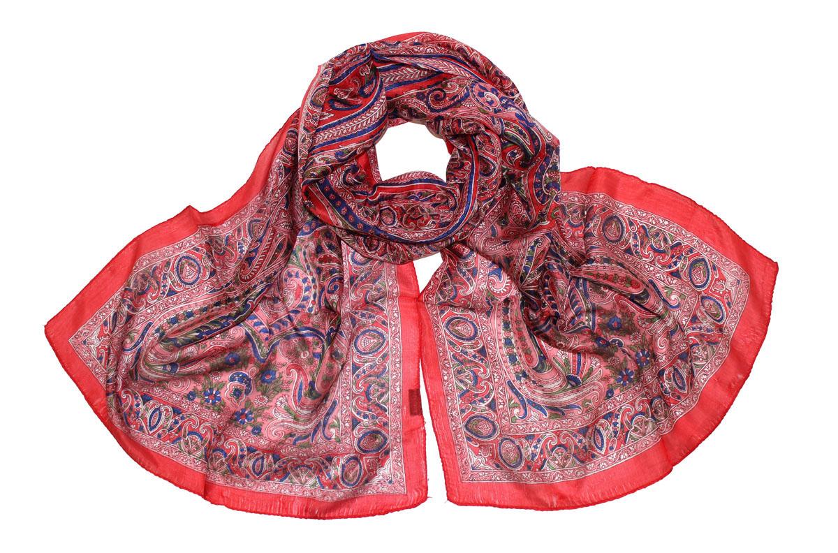 Шарф женский Ethnica, цвет: красный, розовый, синий. 520135н. Размер 55 см х 180 см520135нЖенский шарф Ethnica, изготовленный из 100% шелка, подчеркнет вашу индивидуальность. Благодаря своему составу, он легкий, мягкий и приятный на ощупь. Изделие оформлено оригинальным принтом.Такой аксессуар станет стильным дополнением к гардеробу современной женщины.