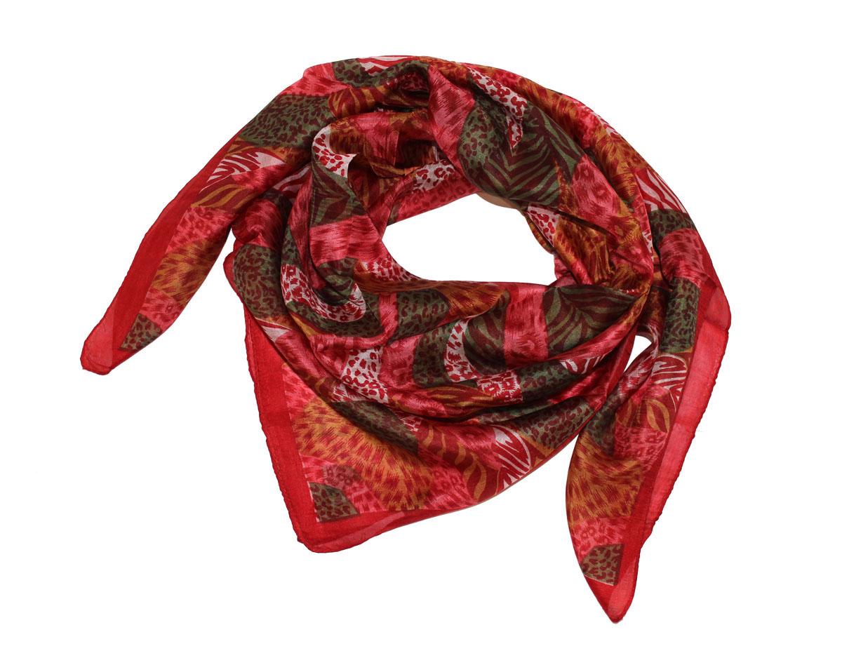 Платок женский Ethnica, цвет: брусничный, зеленый, оранжевый. 522135н. Размер 100 см х 100 см522135нПлаток Ethnica, выполненный из 100% шелка, гармонично дополнит образ современной женщины. Благодаря своему составу, он легкий, мягкий и приятный на ощупь. Края платка оформлены прострочкой. Классическая квадратная форма позволяет носить платок на шее, украшать им прическу или декорировать сумочку. С таким платком вы всегда будете выглядеть женственно и привлекательно.
