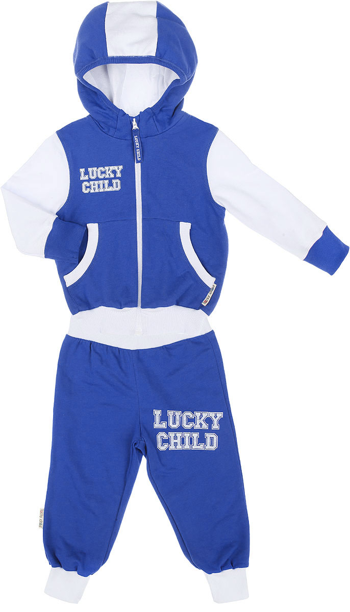 Спортивный костюм детский Lucky Child, цвет: синий, белый. 8-2. Размер 68/74, 3-6 месяцев8-2Утепленный спортивный костюм Lucky Child, состоящий из толстовки и брюк, идеально подойдет вашему ребенку и станет отличным дополнением к его гардеробу. Изготовленный из натурального хлопка, он очень мягкий и приятный на ощупь, не сковывает движения и позволяет коже дышать, не раздражает даже самую нежную и чувствительную кожу ребенка, обеспечивая наибольший комфорт. Лицевая сторона изделия гладкая, изнаночная - с теплым мягким начесом. Толстовка с небольшим воротником-стойкой и длинными рукавами застегивается на пластиковую застежку-молнию. Спереди предусмотрены два накладных кармашка. Понизу модель дополнена широкой трикотажной резинкой, а на рукавах имеются манжеты, не стягивающие запястья.Спортивные брюки на широком эластичном на поясе не сдавливают животик ребенка и не сползают. Снизу брючин предусмотрены широкие манжеты. Модель оформлена принтовыми надписями с названием бренда.В таком костюме ваш ребенок будет чувствовать себя комфортно, уютно и всегда будет в центре внимания.