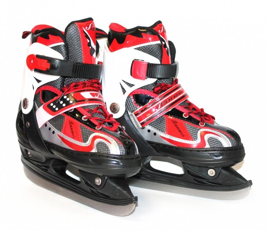 Коньки ледовые Bradex, раздвижные, цвет: черный, красный, серый. SF 0100. Размер 36-39SF 010Оригинальные коньки от Bradex с ударопрочной защитной конструкцией прекрасно подойдут для начинающих игроков в хоккей. Ботинки изготовлены из морозостойкого пластика, который защитит ноги от ударов. Пластиковая бакля с фиксатором, хлястик на липучке и шнуровка с фиксатором надежно фиксируют голеностоп. Внутренний сапожок, выполненный комбинации морозостойкой искусственной кожи и нейлона обеспечит тепло и комфорт во время катания. Берцы дополнены текстильной нашивкой.Фигурное лезвие изготовлено из нержавеющей стали со специальным покрытием, придающим дополнительную прочность.Изделие по верху декорировано оригинальным принтом и тиснением в виде логотипа бренда. Задняя часть коньков дополнена ярлычком для более удобного надевания обуви.При увеличении размерности, внутри ботинка отсутствует провал в районе смещения, благодаря точно установленной алюминиевой салазки. Во время увеличения размерности коньков происходит автоматическое увеличение и по полноте.Модель удобная, не требуют теплых дополнительных носков. Подарите себе незабываемые впечатления от катания на льду!