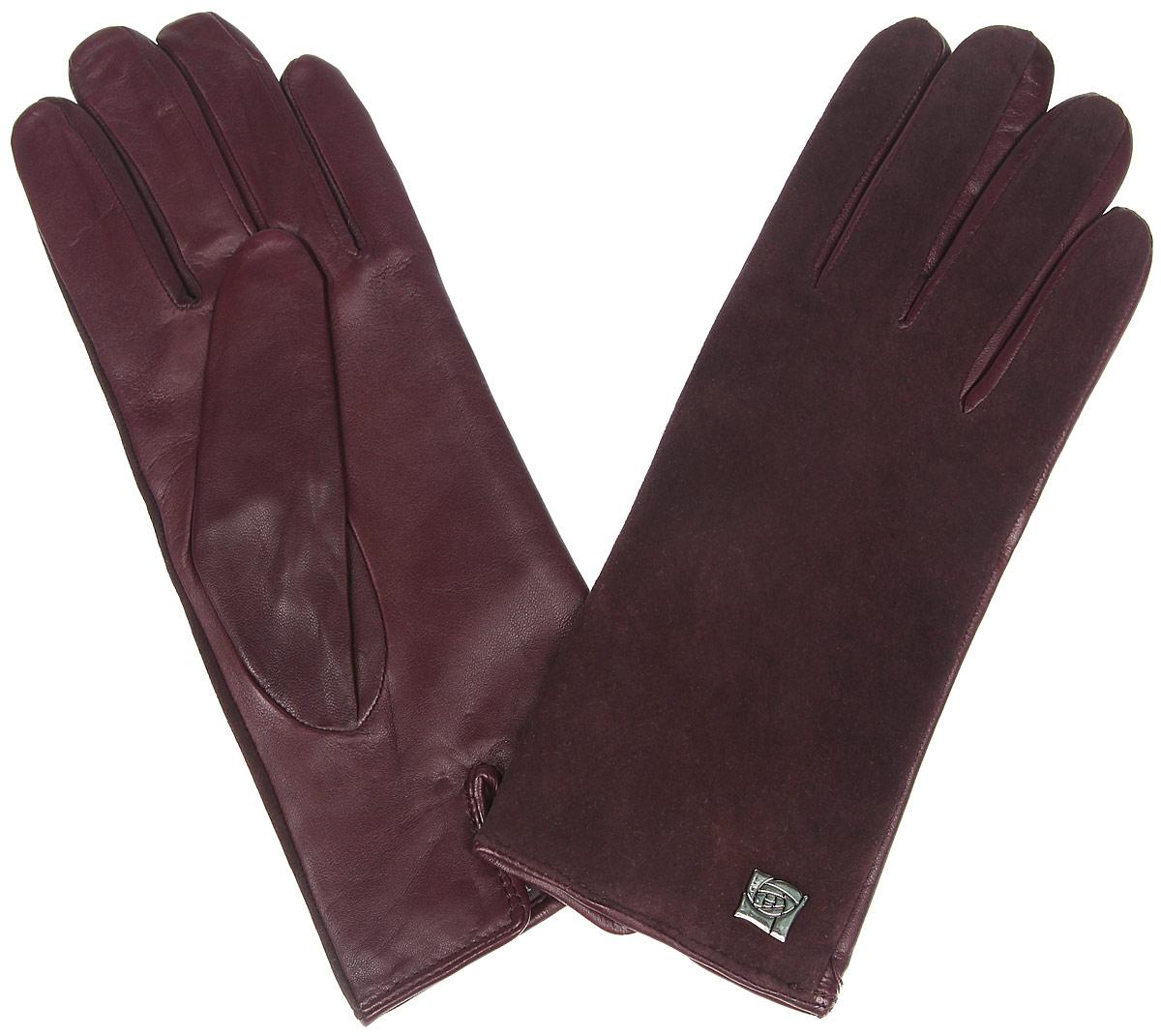 Перчатки женские Eleganzza, цвет: бордовый. IS992. Размер 6,5IS992Классические женские перчатки Eleganzza - первая необходимость в осенне-зимний период. Выполненные из комбинированной кожи на подкладке из шерсти, они необыкновенно мягкие и приятные на ощупь.Лицевая сторона изделия с бархатистой поверхностью украшена декоративным элементом в виде розы. Тыльная сторона дополнена аккуратным разрезом. Потрясающие женские перчатки Eleganzza подойдут романтичным особам с тонким вкусом, они защитят руки от холода и ветра, сохраняя их красоту.