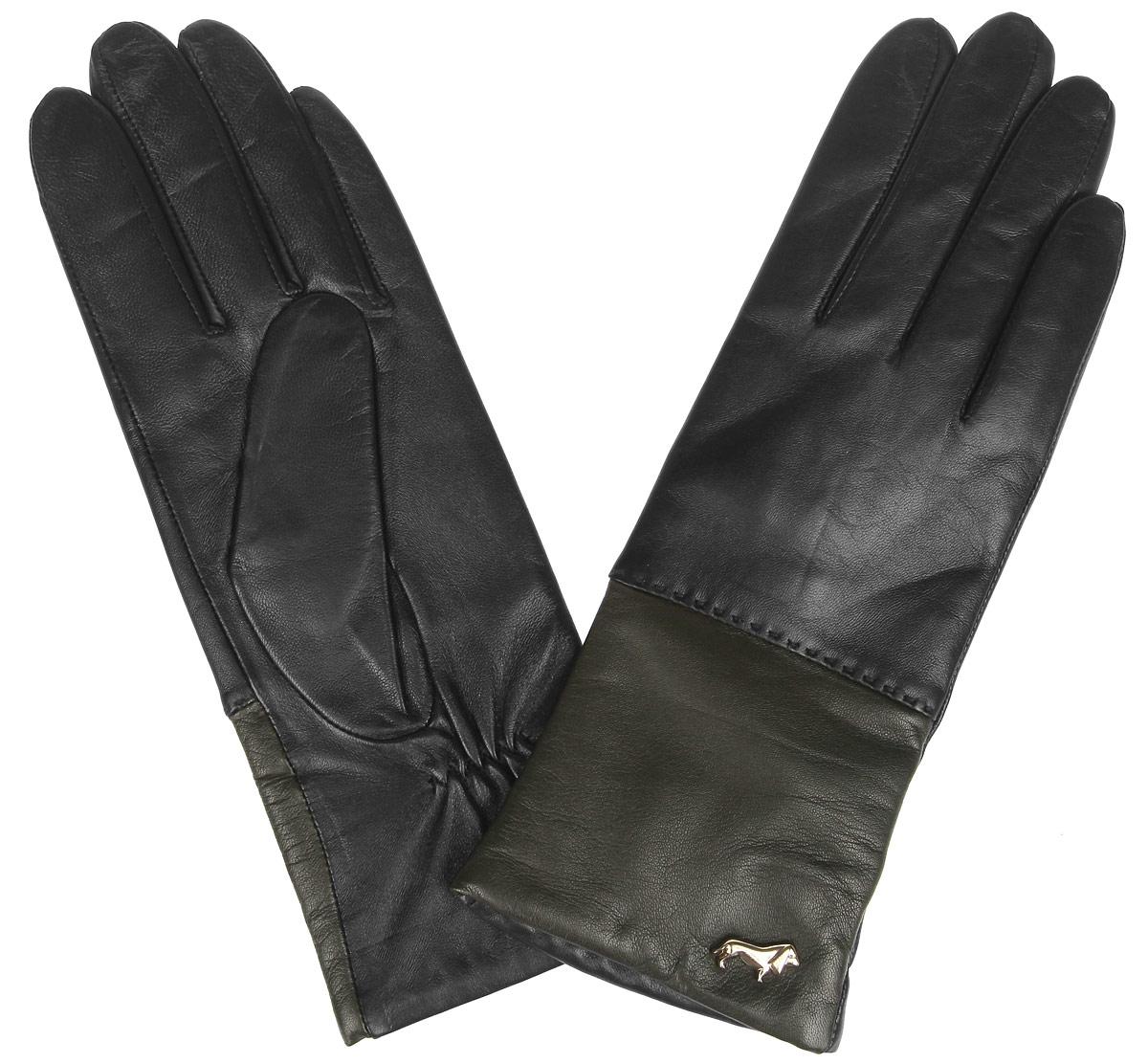 Перчатки женские Labbra, цвет: черный, оливковый. LB-7777. Размер 8LB-7777Женские перчатки Labbra не только защитят ваши руки от холода, но и станут стильным украшением. Перчатки выполнены из натуральной кожи ягненка. Они мягкие, максимально сохраняют тепло, идеально сидят на руке. Подкладка изделия изготовлена из шерсти с добавлением акрила.Лицевая сторона изделия дополнена декоративным элементом в виде логотипа бренда. На запястье модель присборена на небольшие эластичные резинки.Перчатки станут завершающим элементом вашего неповторимого стиля и подчеркнут вашу индивидуальность.