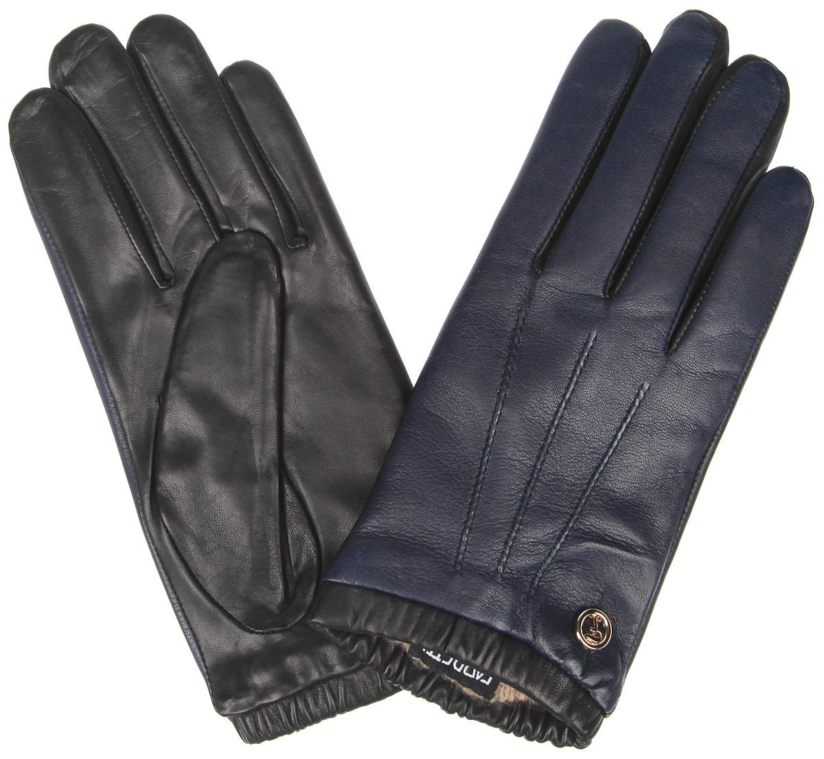 Перчатки женские Fabretti, цвет: темно-синий. 2.29-12. Размер 72.29-12_navyЭлегантные женские перчатки Fabretti станут великолепным дополнением вашего образа и защитят ваши руки от холода и ветра во время прогулок.Перчатки выполнены из натуральной кожи ягненка и имеют подкладку из шерсти с добавлением кашемира, что позволяет им надежно сохранять тепло. Модель оснащена эластичной резинкой на запястье и оформлена декоративной отстрочкой с внешней стороны. Украшено изделие небольшим декоративным элементом с логотипом бренда. Такие перчатки будут оригинальным завершающим штрихом в создании современного модного образа, они подчеркнут ваш изысканный вкус и станут незаменимым и практичным аксессуаром.