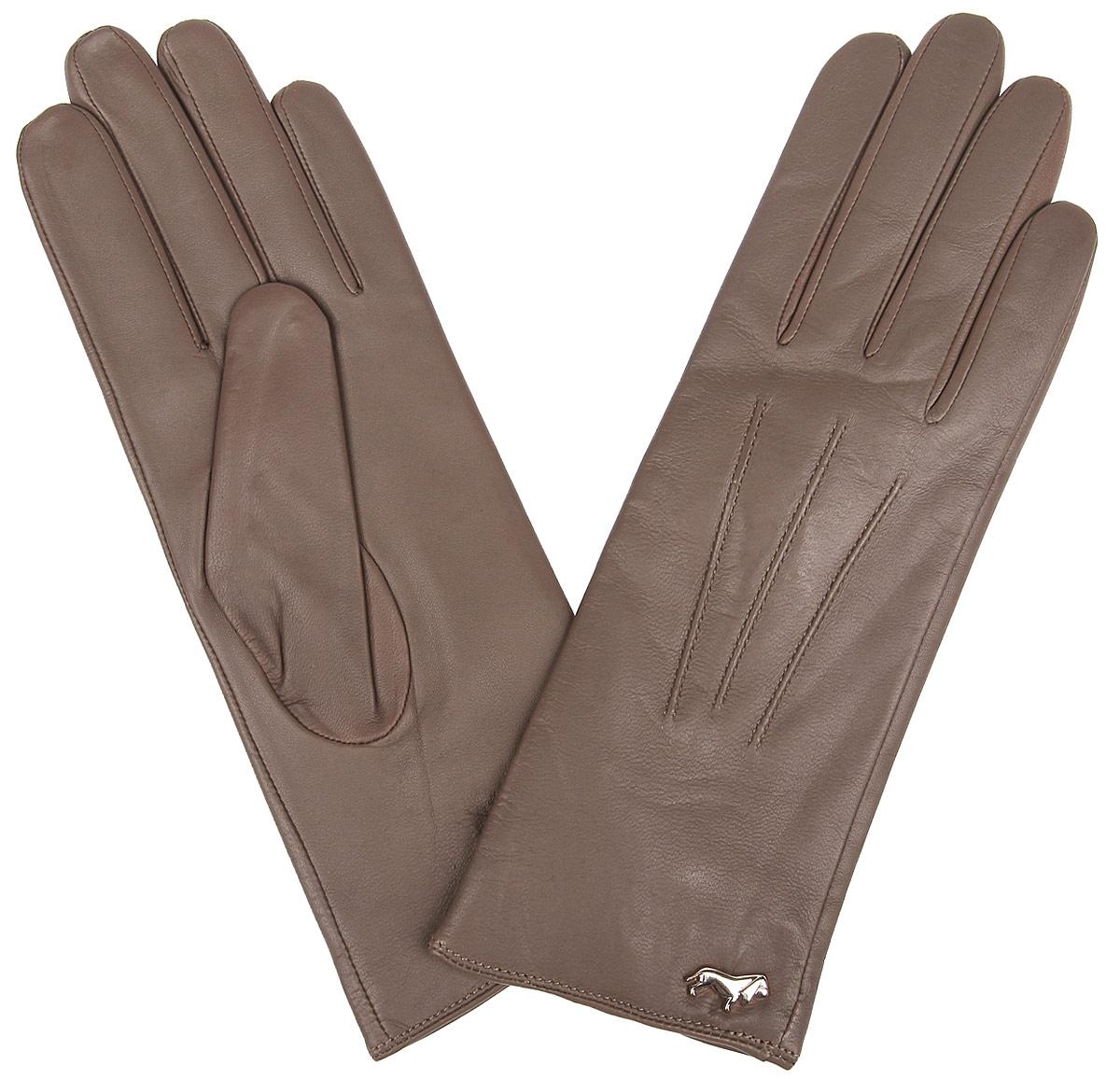 Перчатки женские Labbra, цвет: серо-коричневый. LB-4607. Размер 7LB-4607Стильные женские перчатки Labbra не только защитят ваши руки от холода, но и станут великолепным украшением. Перчатки выполнены из из натуральной кожи ягненка с подкладкой из шерсти и акрила. Модель оформлена машинной строчкой три луча и фирменным декоративным элементом в виде собачки. В настоящее время перчатки являются неотъемлемой частью одежды, вместе с этим аксессуаром вы обретаете женственность и элегантность. Перчатки станут завершающим и подчеркивающим элементом вашего стиля и неповторимости.