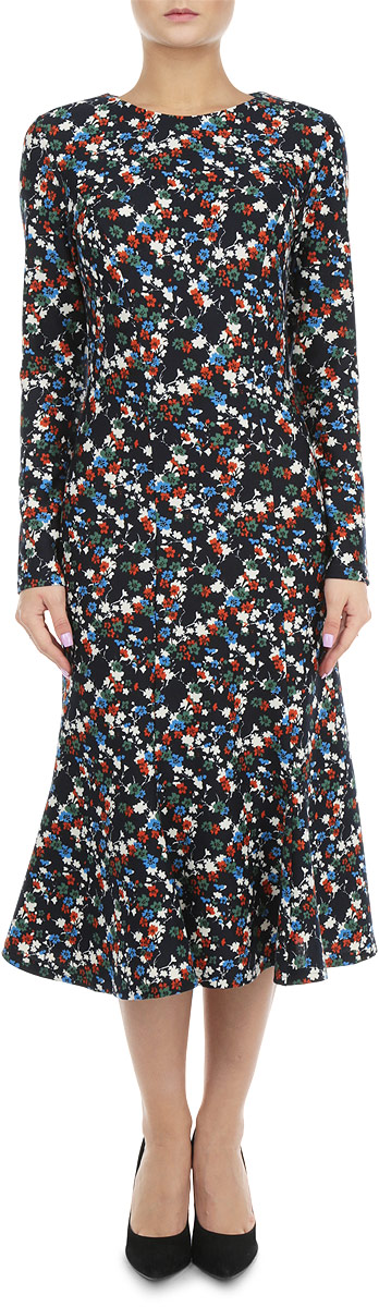 Платье Lautus, цвет: темно-синий, бежевый, оранжевый. 676. Размер 50676Элегантное платье Lautus выполнено из высококачественного комбинированного материала. Такое платье обеспечит вам комфорт и удобство при носке.Модель с длинными рукавами и круглым вырезом горловины выгодно подчеркнет все достоинства вашей фигуры благодаря приталенному силуэту. Платье оформлено оригинальным цветочным принтом. Изысканное платье-миди создаст обворожительный и неповторимый образ.Это модное и удобное платье станет превосходным дополнением к вашему гардеробу, оно подарит вам удобство и поможет вам подчеркнуть свой вкус и неповторимый стиль.
