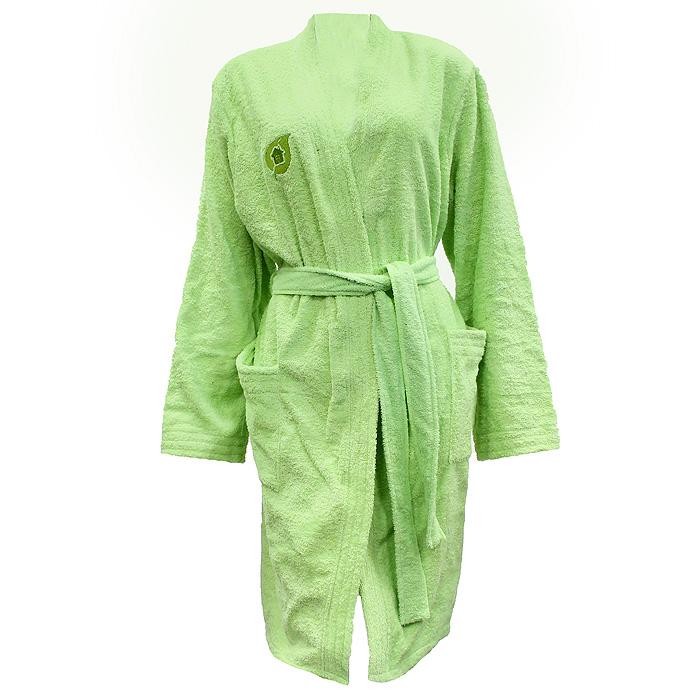 Халат женский Банные штучки, цвет: салатовый. 32154. Размер 44/5232154Махровый женский халат Банные штучки, выполненный из натурального хлопка, принесет вам неповторимую легкость и удовольствие повседневного комфорта. Халат с запахом дополнен съемным поясом и двумя накладными карманами спереди. На груди расположен вышитый логотип производителя.В атмосфере домашнего тепла и уюта вы и в будни сможете сохранить радостное и светлое настроение, облачившись в удобный халат после расслабляющей ванны вечером или после контрастного душа с утра.