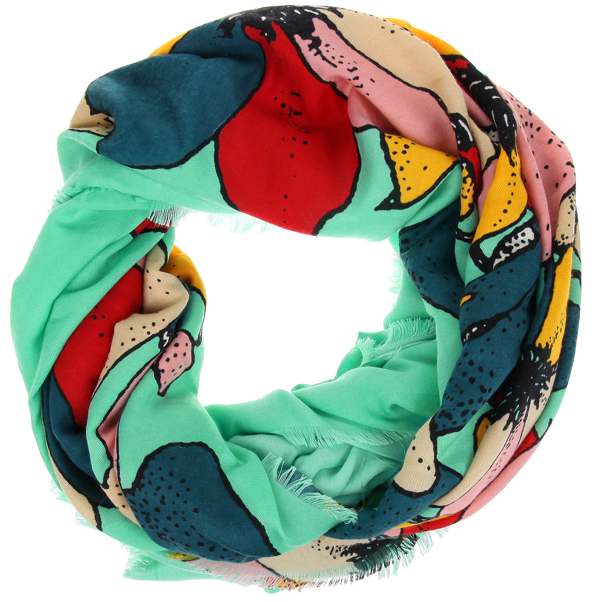 Платок женский Sophie Ramage, цвет: зеленый, красный, желтый. BH-11522-6. Размер 130 см x 130 смBH-11522-6Великолепный платок Sophie Ramage станет изысканным аксессуаром, который подчеркнет ваши индивидуальность и очарование. Платок изготовлен из модала с добавлением кашемира и оформлен эффектным цветочным узором. Края модели украшены короткой бахромой. Платок Sophie Ramage станет вашим верным спутником, а окружающие обязательно будут обращать свое восторженное внимание на вас.