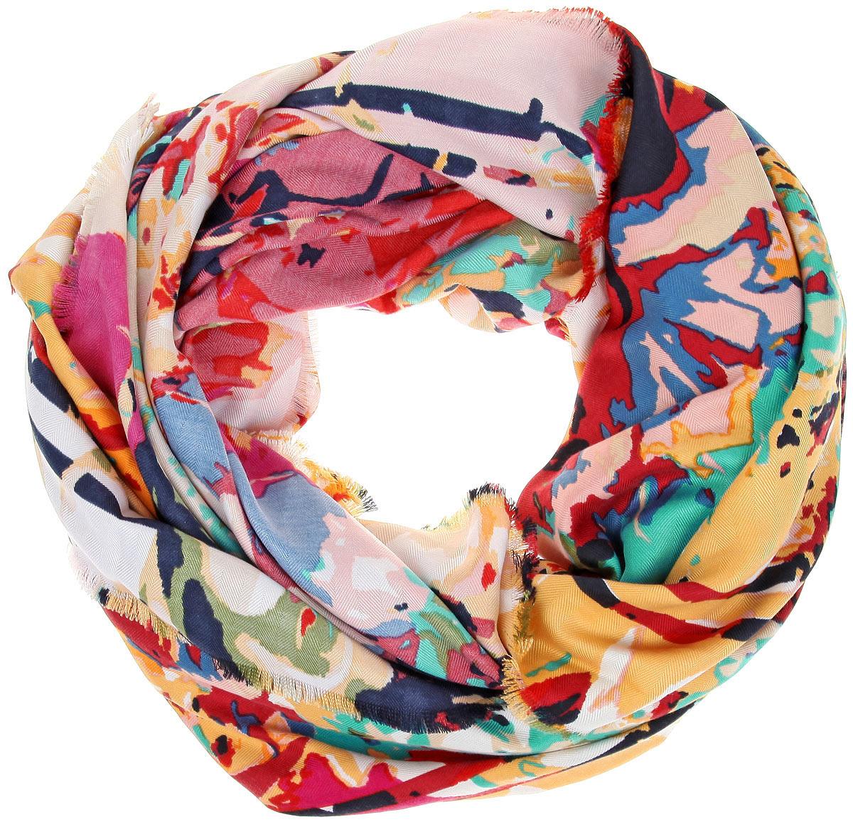 Платок женский Sophie Ramage, цвет: желтый, розовый, синий. BH-11527-10. Размер 130 см x 130 смBH-11527-10Платок Sophie Ramage, выполненный из модала с добавлением кашемира, идеально дополнит образ современной женщины. Благодаря своему составу, он удивительно мягкий и очень приятный на ощупь. Модель оформлена ярким принтом, а по краям декорирована бахромой. Классическая квадратная форма позволяет носить платок на шее, украшать им прическу или декорировать сумочку. С этим платком вы всегда будете выглядеть женственной и привлекательной.
