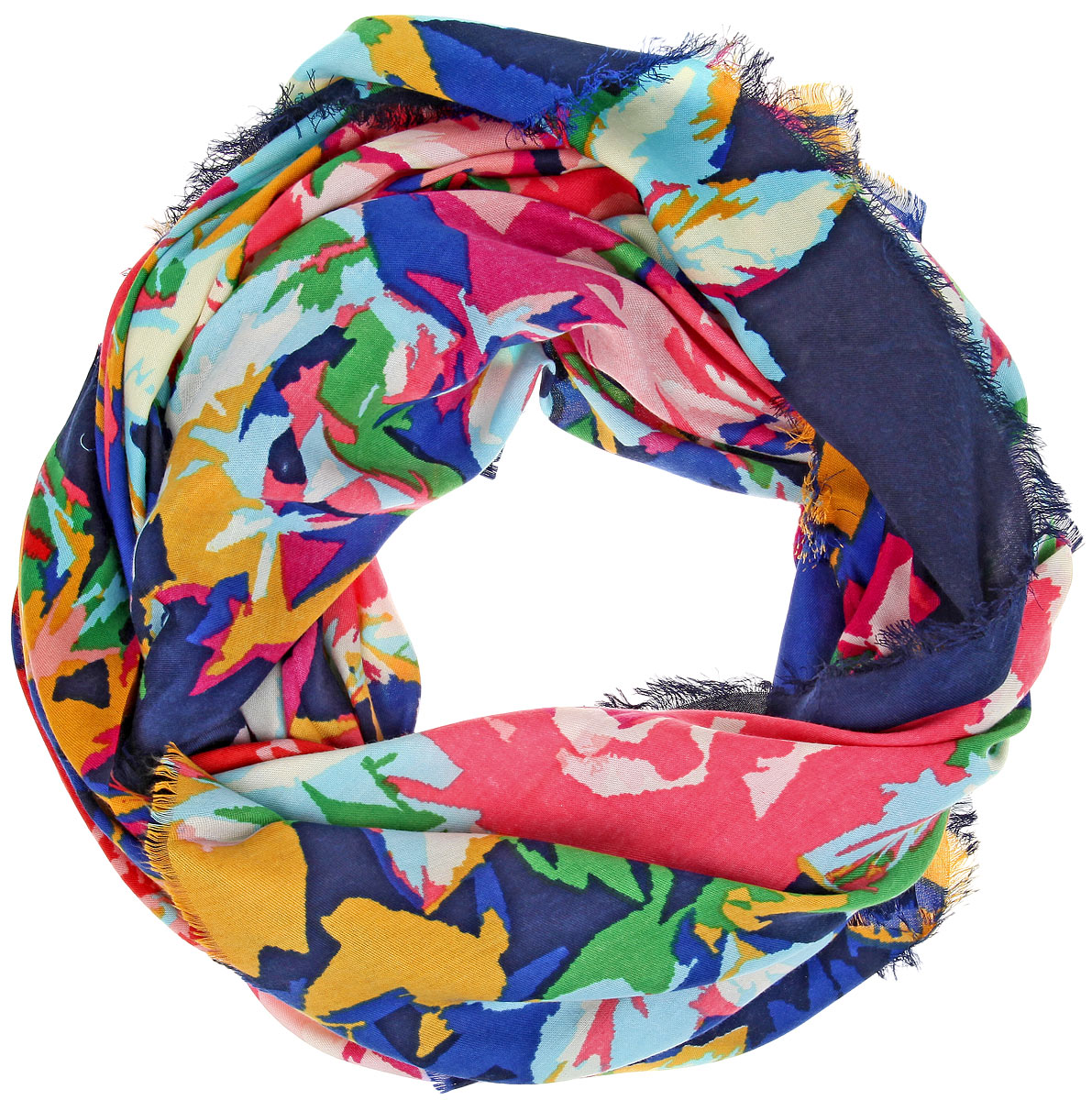 Платок женский Sophie Ramage, цвет: синий, зеленый, розовый. BH-11520-3. Размер 130 см x 130 смBH-11520-3Платок Sophie Ramage, выполненный из модала с добавлением кашемира, идеально дополнит образ современной женщины. Благодаря своему составу, он удивительно мягкий и очень приятный на ощупь. Модель оформлена ярким принтом, а по краям декорирована бахромой.Классическая квадратная форма позволяет носить платок на шее, украшать им прическу или декорировать сумочку. С этим платком вы всегда будете выглядеть женственной и привлекательной.