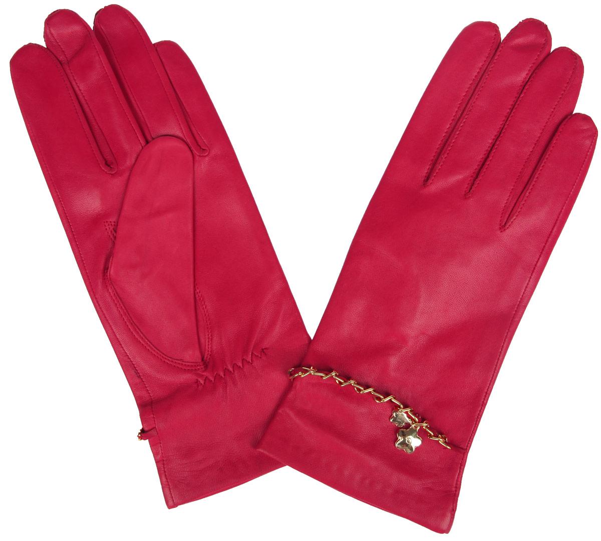 Перчатки женские Eleganzza, цвет: красный. HP294. Размер 6,5HP294Стильные женские перчатки Eleganzza не только защитят ваши руки от холода, но и станут великолепным украшением. Перчатки выполнены из натуральной кожи ягненка на шелковой подкладке. На тыльной стороне имеется небольшая сборка резинкой для того, чтобы перчатки лучше сидели. Оформлено изделие цепочкой, переплетенной с кожаным ремешком и украшенной подвеской в виде цветочков.В настоящее время перчатки являются неотъемлемой принадлежностью одежды, вместе с этим аксессуаром вы обретаете женственность и элегантность. Перчатки станут завершающим и подчеркивающим элементом вашего стиля и неповторимости.