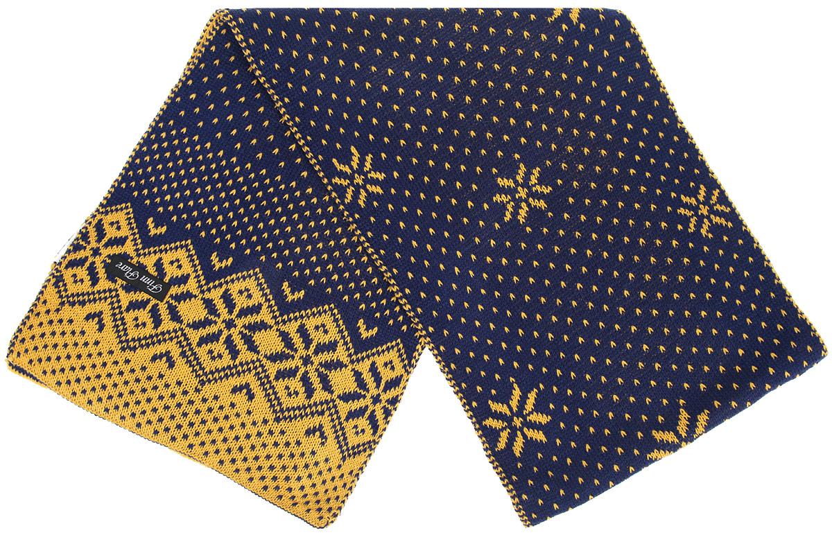 Шарф женский Finn Flare, цвет: темно-синий, желтый. W15-12403. Размер 30 см х 180 смW15-12403Женский шарф Finn Flare станет отличным дополнением к вашему гардеробу в холодную погоду. Шарф, выполненный из 100% акрила, очень мягкий, теплый и приятный на ощупь. Модель оформлена вязаным орнаментом.Современный дизайн и расцветка делают этот шарф модным и стильным женским аксессуаром. Он подарит вам ощущение тепла, комфорта и уюта.