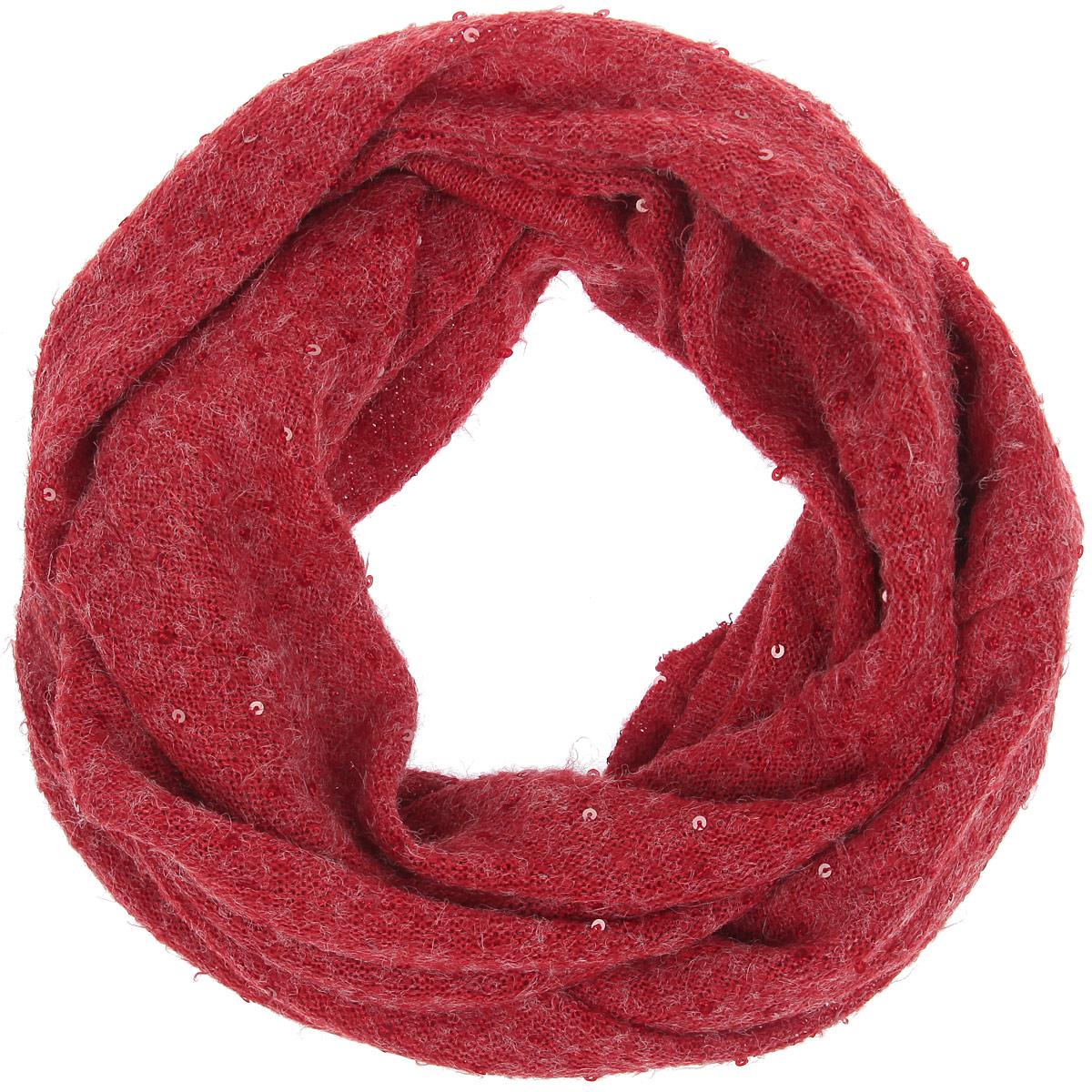 Шарф-снуд женский Labbra, цвет: красный. LSL33-315. Размер 55 см х 150 смLSL33-315Уютный среднего размера шарф-снуд Labbra создан подчеркнуть ваш неординарный вкус и согреть вас в прохладное время года. Шерсть с вискозой - идеальное сочетание для снуда. Модель отличается вкраплениями паеток, невероятной легкостью и мягкостью.Красивый шарф-кольцо отлично сочетается с любой нарядной одеждой. Такой предмет гардероба не только хорошо работает на создание модного образа, но и согревает в непогоду.