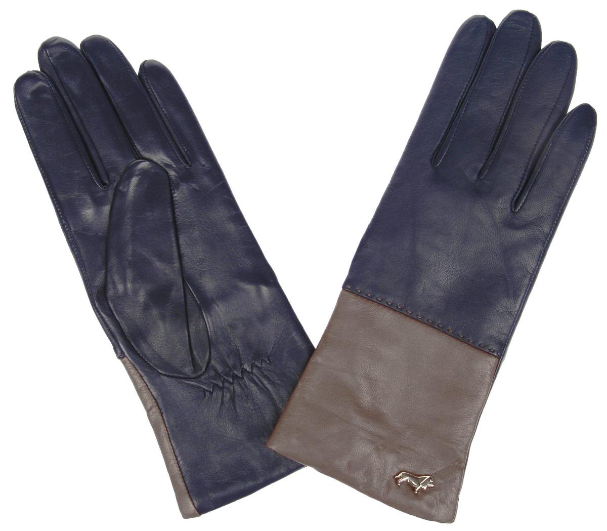 Перчатки женские Labbra, цвет: темно-синий, коричневый. LB-7777. Размер 6,5LB-7777Женские перчатки Labbra не только защитят ваши руки от холода, но и станут стильным украшением. Перчатки выполнены из натуральной кожи ягненка. Они мягкие, максимально сохраняют тепло, идеально сидят на руке. Подкладка изделия изготовлена из шерсти с добавлением акрила.Лицевая сторона изделия дополнена декоративным элементом в виде логотипа бренда. На запястье модель присборена на небольшие эластичные резинки.Перчатки станут завершающим элементом вашего неповторимого стиля и подчеркнут вашу индивидуальность.