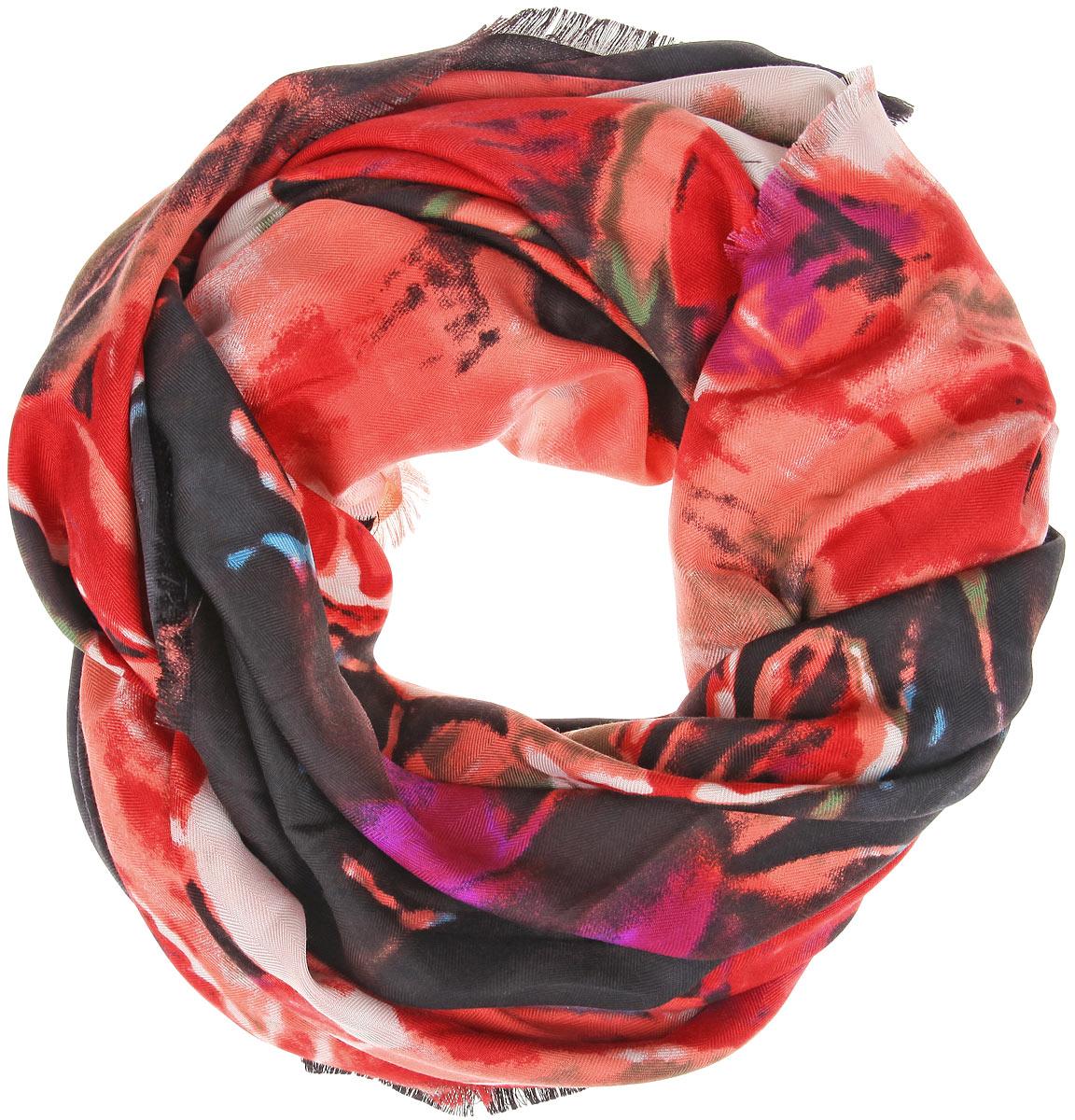 Платок женский Sophie Ramage, цвет: красный, черный, фиолетовый. BH-11526-9. Размер 130 см x 130 смBH-11526-9Великолепный платок Fiona Fantozzi станет изысканным аксессуаром, которыйподчеркнет ваши индивидуальность и очарование. Платок изготовлен из модала сдобавлением кашемира и оформлен эффектным цветочным узором. Краямодели украшены короткой бахромой. Платок Fiona Fantozzi станетвашим верным спутником, а окружающие обязательно будут обращать своевосторженное внимание на вас.