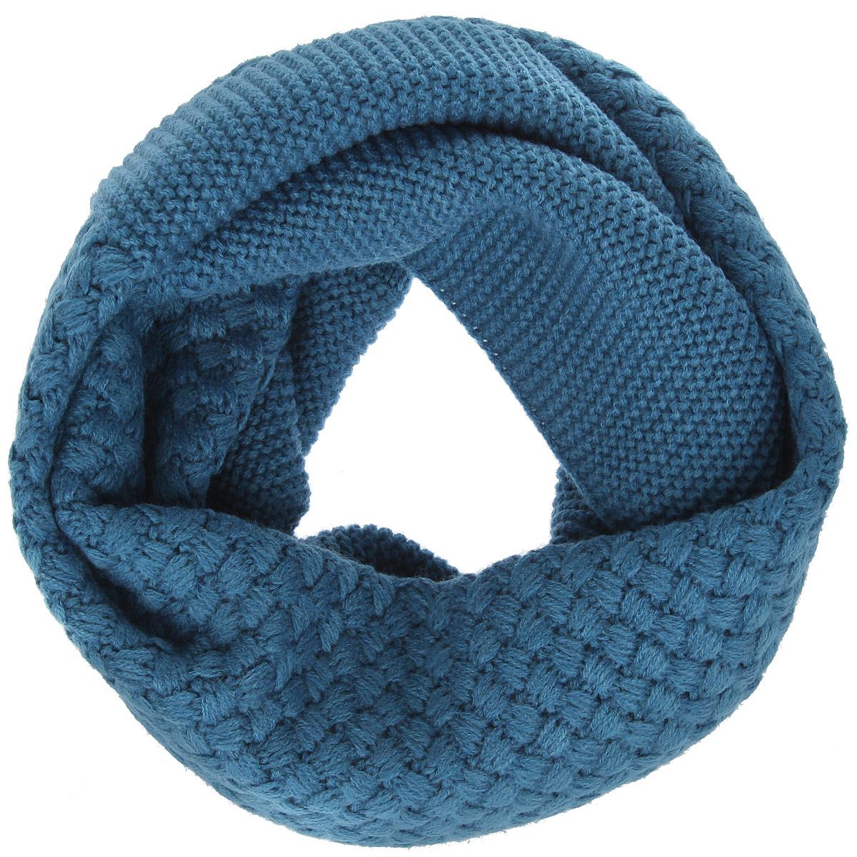 Снуд-хомут женский Eleganzza, цвет: темно-голубой. DB33-6403-12. Размер 32 см х 130 смDB33-6403-12Женский вязаный снуд-хомут Eleganzza станет отличным дополнением к гардеробу в холодную погоду. Изготовленный из высококачественной пряжи с содержанием шерсти и вискозы, он необычайно мягкий и приятный на ощупь, максимально сохраняет тепло.Изделие представляет собой объемный шарф, связанный по кругу. Модель оформлена вязаным узором. Модный аксессуар гармонично дополнит образ современной женщины, следящей за своим имиджем и стремящейся всегда оставаться стильной.