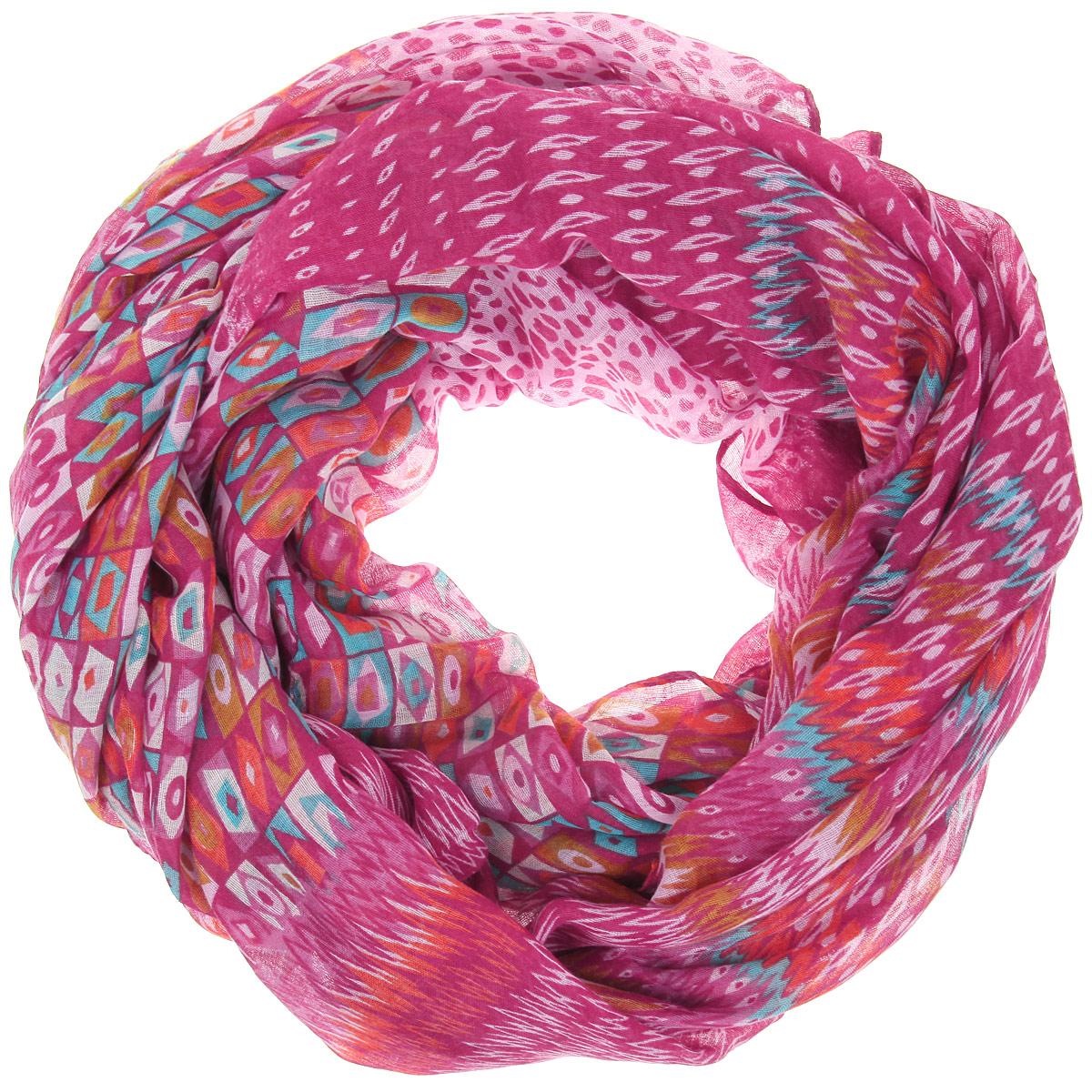 Палантин Sophie Ramage, цвет: розовый, оранжевый, бирюзовый. SJ-21412-14. Размер 110 см х 180 смSJ-21412-14Палантин Sophie Ramage позволит вам создать неповторимый и запоминающийся образ. Благодаря своему составу, в который входит вискоза с добавлением шерсти, он теплый, мягкий, имеет приятную на ощупь текстуру. Модель оформлена оригинальным орнаментом. Такой аксессуар станет стильным дополнением к гардеробу современной женщины, а также подаритощущение комфорта, тепла и уюта в прохладную погоду.