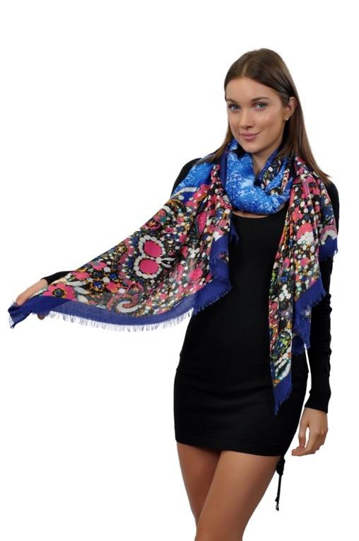 Палантин Venera, цвет: синий, розовый. 2711901-11. Размер 90 см х 180 см2711901-11Элегантный палантин Venera подчеркнет ваш неповторимый образ. Яркий палантин из шерсти и акрила, очень мягкий и приятный к телу. Теплая и уютная ткань согреет вас от ветра и холода, а насыщенные тона освежат ваш образ и даже в хмурую погоду и поднимут настроение.