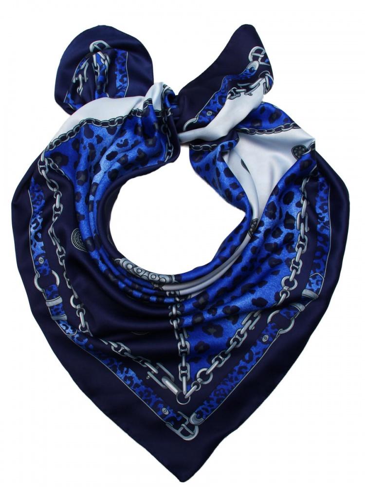 Платок женский Venera, цвет: синий, темно-синий, серый. 3905533-11. Размер 90 см х 90 см3905533-11Стильный платок Venera станет отличным завершением вашего образа. Платок, выполненный из полиэстера, согреет вас в прохладную погоду, а креативный дизайн создаст эффектный образ и внесет изюминку в наряд. Серебряные цепи, страстный анималистический принт, интересная окантовка ремешками, качественная, мягкая и приятная к телу ткань - и это все один аксессуар.Этот модный аксессуар не оставит равнодушной ни одну современную модницу. В этом платке вы всегда будете выглядеть женственной и привлекательной.
