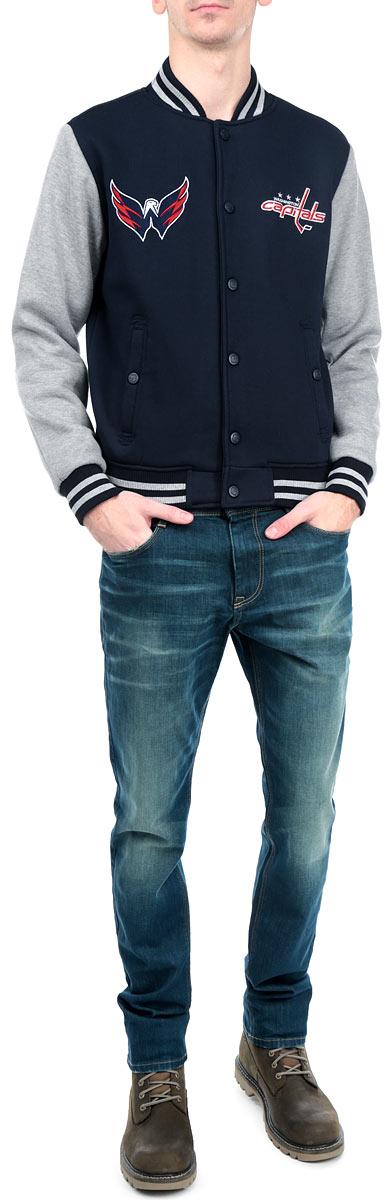 Куртка NHL Washington Capitals, цвет: темно-синий, серый меланж. 57070. Размер XL (52)57070Мужская куртка NHL Washington Capitals, изготовленная из полиэстера и хлопка, очень мягкая и приятная на ощупь, не сковывает движения, обеспечивая наибольший комфорт. Подкладка изделия выполнена из полиэстера.Куртка с небольшим воротником-стойкой и длинными рукавами застегивается на кнопки по всей длине. Снизу модели предусмотрена широкая мягкая резинка, которая предотвращает проникновение холодного воздуха. Рукава дополнены эластичными манжетами. Спереди расположены два втачных кармана на кнопках. Изделие оформлено нашивками с символикой хоккейного клуба Washington Capitals.Теплая и стильная куртка подарит вам комфорт и станет отличным дополнением к вашему гардеробу.