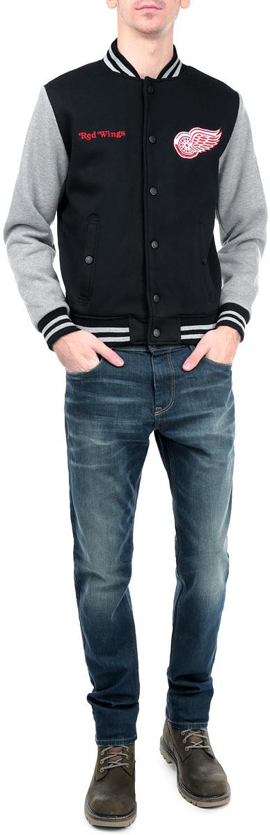 Куртка мужская NHL Detroit Red Wings, цвет: черный, серый меланж. 57030. Размер L (50) - Хоккейные клубы