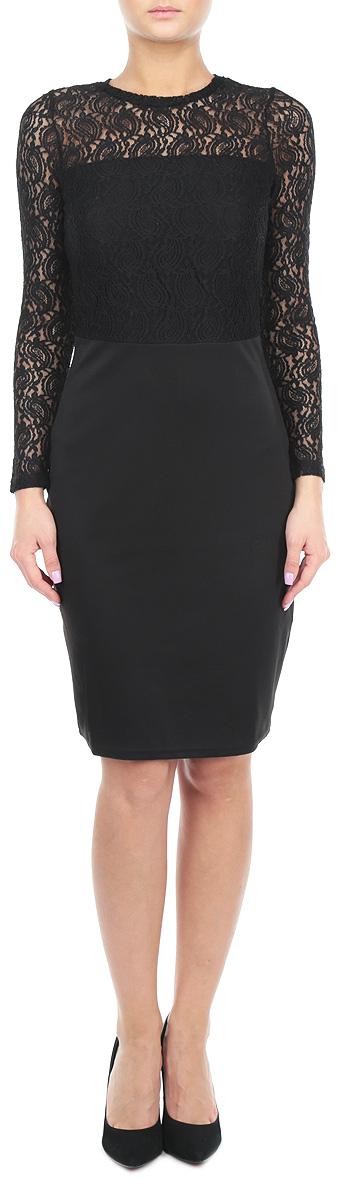 Платье Broadway, цвет: черный. 10152880 999. Размер S (44)10152880 999Стильное платье Broadway, выполненное из высококачественных материалов, приятное на ощупь, не сковывает движения, обеспечивая наибольший комфорт. Модель облегающего кроя с круглым вырезом горловины и длинными рукавамипо спинке застегивается на пластиковую застежку-молнию. Лиф и рукава модели выполнены из кружевного материала. Спереди лиф дополнен подкладкой, спинка и рукава - прозрачные. Это элегантное платье станет отличным дополнением к вашему гардеробу!
