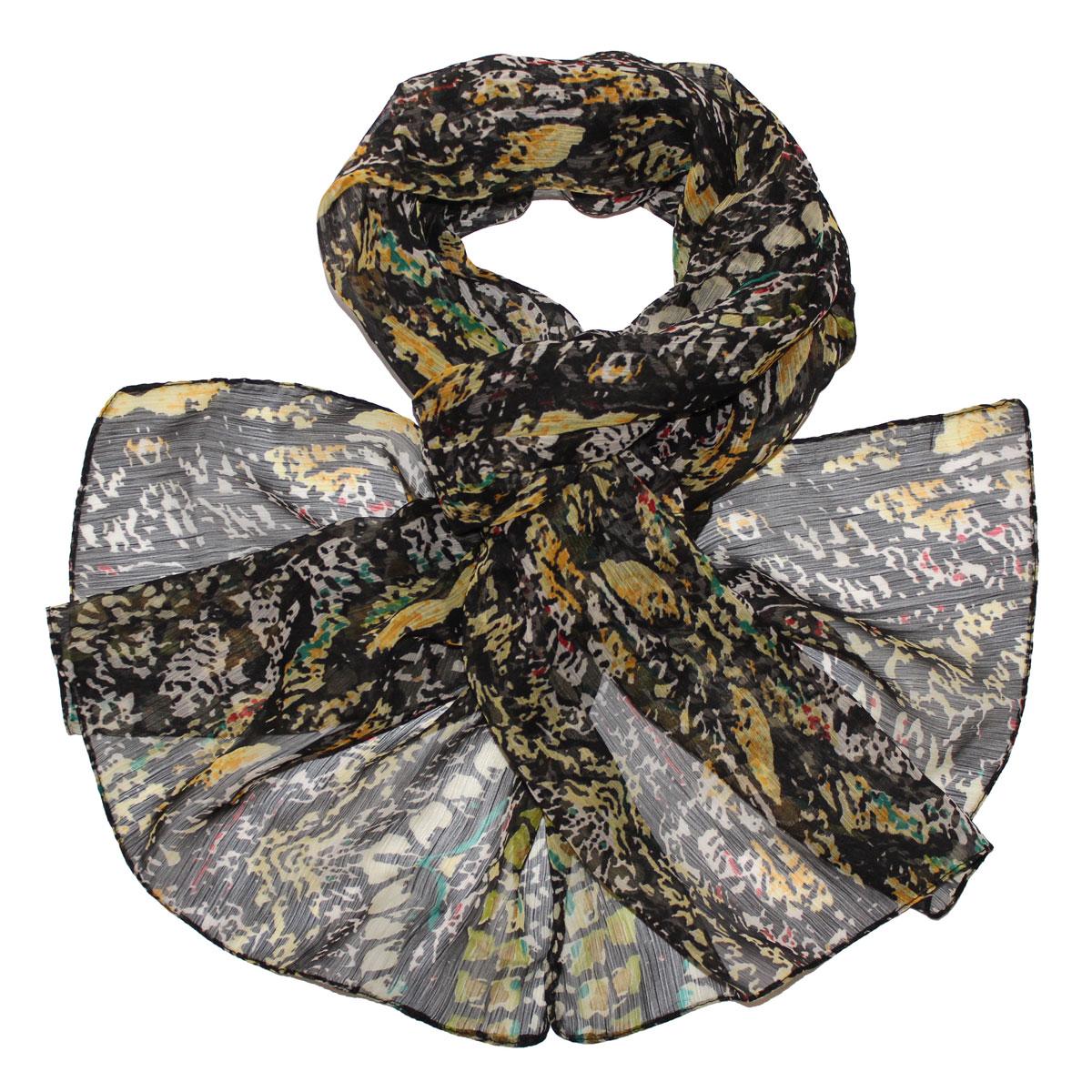 Шарф женский Ethnica, цвет: черный, желтый, бирюзовый. 262040. Размер 50 см x 170 см262040Женский шарф Ethnica, изготовленный из вискозы, подчеркнет вашу индивидуальность. Благодаря своему составу, он легкий, мягкий и приятный на ощупь. Изделие оформлено оригинальным принтом.Такой аксессуар станет стильным дополнением к гардеробу современной женщины.