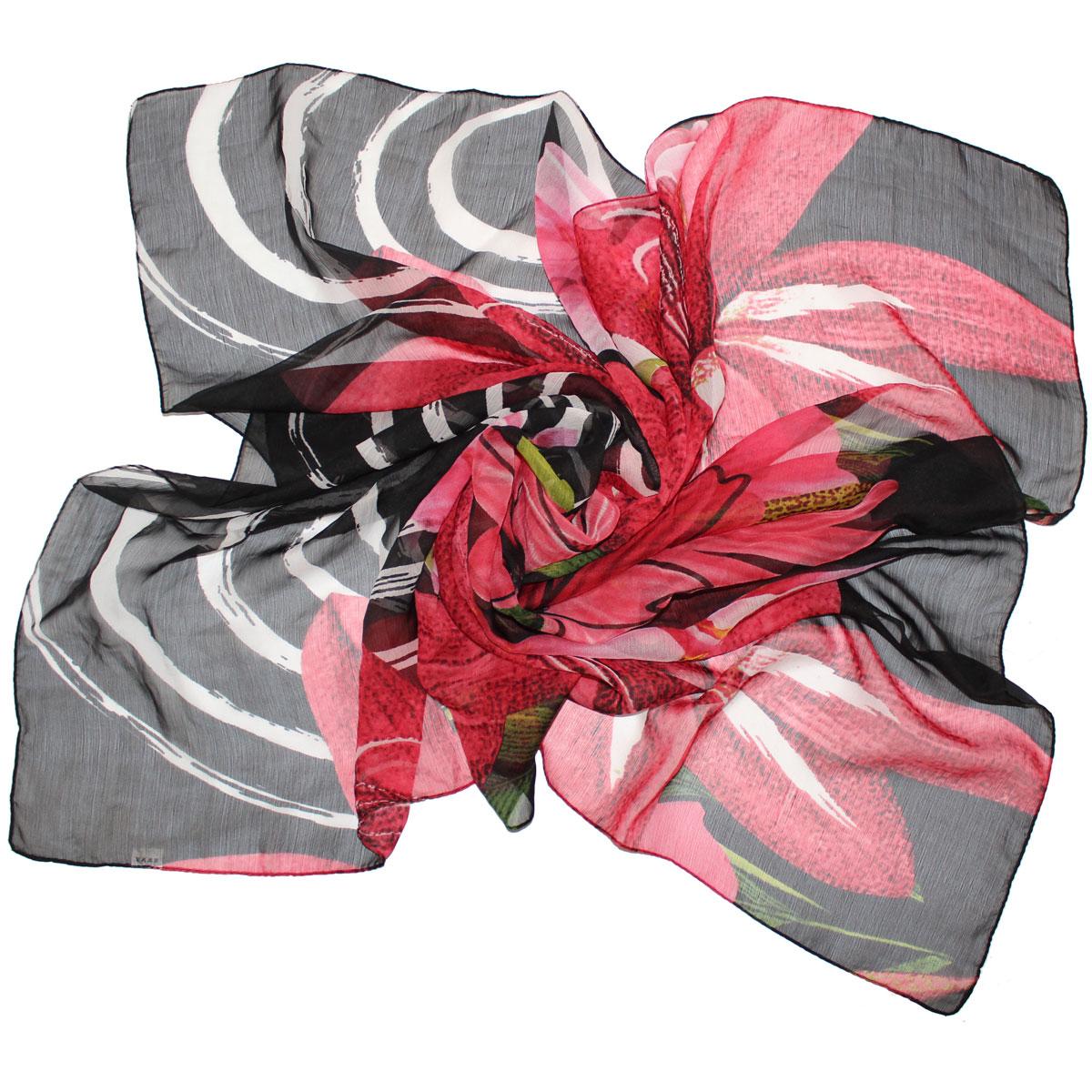 Платок женский Ethnica, цвет: розовый, черный, зеленый. 524040н. Размер 105 см x 105 см524040нПлаток Ethnica, выполненный из вискозы, гармонично дополнит образ современной женщины. Благодаря своему составу, он легкий, мягкий и приятный на ощупь. Модель оформлена крупным цветочным принтом.Классическая квадратная форма позволяет носить платок на шее, украшать им прическу или декорировать сумочку. С таким платком вы всегда будете выглядеть женственно и привлекательно.