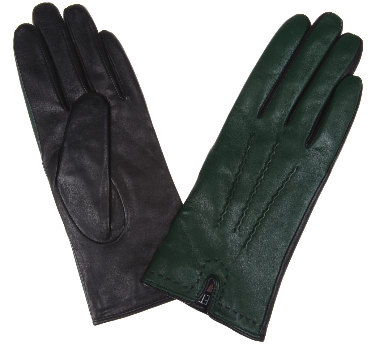 Перчатки женские Fabretti, цвет: темно-зеленый, черный. 2.27-15. Размер 72.27-15Элегантные женские перчатки Fabretti станут великолепным дополнением вашего образа и защитят ваши руки от холода и ветра во время прогулок.Перчатки выполнены из эфиопской перчаточной кожи ягненка на подкладке из шерсти с добавлением кашемира, что позволяет им надежно сохранять тепло. Манжеты с внешней стороны дополнены разрезами. Модель оформлена декоративной прострочкой. Такие перчатки будут оригинальным завершающим штрихом в создании современного модного образа, они подчеркнут ваш изысканный вкус и станут незаменимым и практичным аксессуаром.
