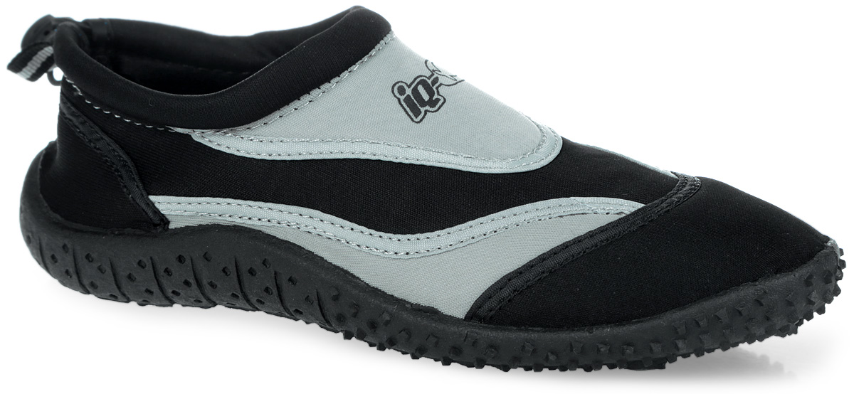 Обувь для кораллов iQ, цвет: черный, серый. 332515-2800. Размер 41332515-2800Обувь для кораллов iQ предназначена для пляжного отдыха, плавания в открытой воде, а также для любых видов водного спорта. Модель выполнена из неопрена и дополнена в области щиколотки шнурком с фиксатором, который плотно и надежно закрепит обувь на ноге, предотвращая ее соскальзывание при плавании и занятиях водными видами спорта. Подкладка и стелька из текстиля обеспечат комфорт и уют ногам. Аквашузы очень легки и быстро сохнут. Задник дополнен ярлычком для более удобного надевания обуви. Литая резиновая подошва не скользит и защищает от порезов. Такие тапочкиидеально подойдут для активного отдыха на каменистых пляжах, хождению по кораллам или горячему песку, а также для занятий аквааэробикой в бассейне.