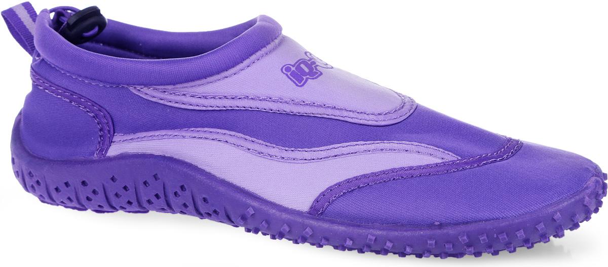Обувь для кораллов женская iQ, цвет: фиолетовый, сиреневый. 332515-2358. Размер 41332515-2358Женская обувь для кораллов iQ предназначена для пляжного отдыха, плавания в открытой воде, а также для любых видов водного спорта. Модель выполнена из неопрена и дополнена в области щиколотки шнурком с фиксатором, который плотно и надежно закрепит обувь на ноге, предотвращая ее соскальзывание при плавании и занятиях водными видами спорта. Подкладка и стелька из текстиля обеспечат комфорт и уют ногам. Аквашузы очень легки и быстро сохнут. Задник дополнен ярлычком для более удобного надевания обуви. Литая резиновая подошва не скользит и защищает от порезов. Такие тапочкиидеально подойдут для активного отдыха на каменистых пляжах, хождению по кораллам или горячему песку, а также для занятий аквааэробикой в бассейне.