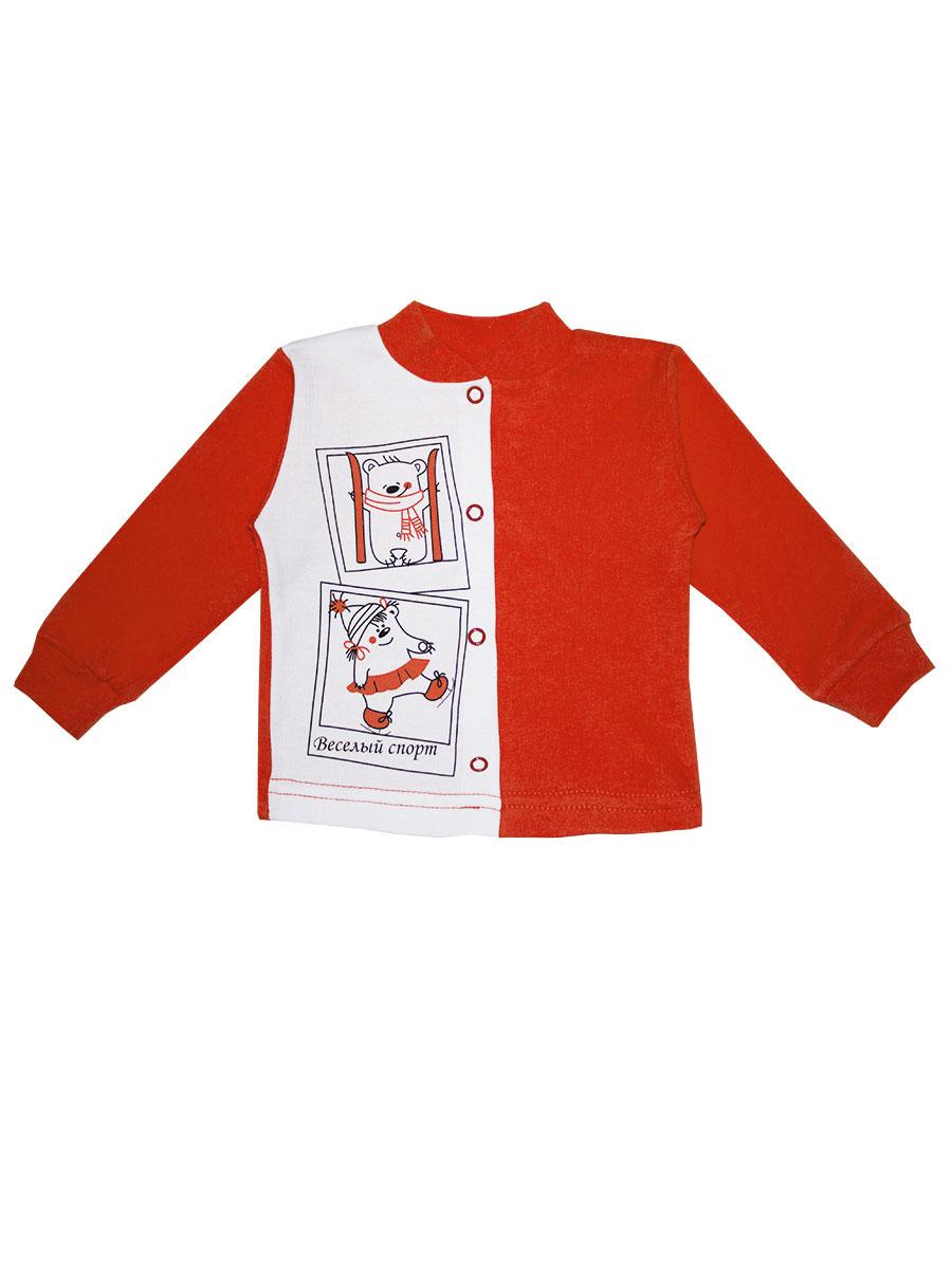 Кофточка КотМарКот, цвет: морковный, белый. 7188. Размер 56, 1 месяц7188Удобная кофточка КотМарКот послужит идеальным дополнением к гардеробу вашего ребенка, обеспечивая ему наибольший комфорт. Кофточка с круглым вырезом горловины и длинными рукавами изготовлена из натурального хлопка - интерлока, благодаря чему она необычайно мягкая и легкая, не раздражает нежную кожу ребенка и хорошо вентилируется, а эластичные швы приятны телу младенца и не препятствуют его движениям. Удобные застежки-кнопки по всей длине помогают легко переодеть ребенка. Рукава понизу дополнены широкими трикотажными манжетами, мягко обхватывающими запястья, а горловина - небольшим трикотажным воротничком. Модель оформлена принтом с изображением забавного медвежонка-спортсмена. Кофточка полностью соответствует особенностям жизни ребенка в ранний период, не стесняя и не ограничивая его в движениях. В ней ваш младенец всегда будет в центре внимания.