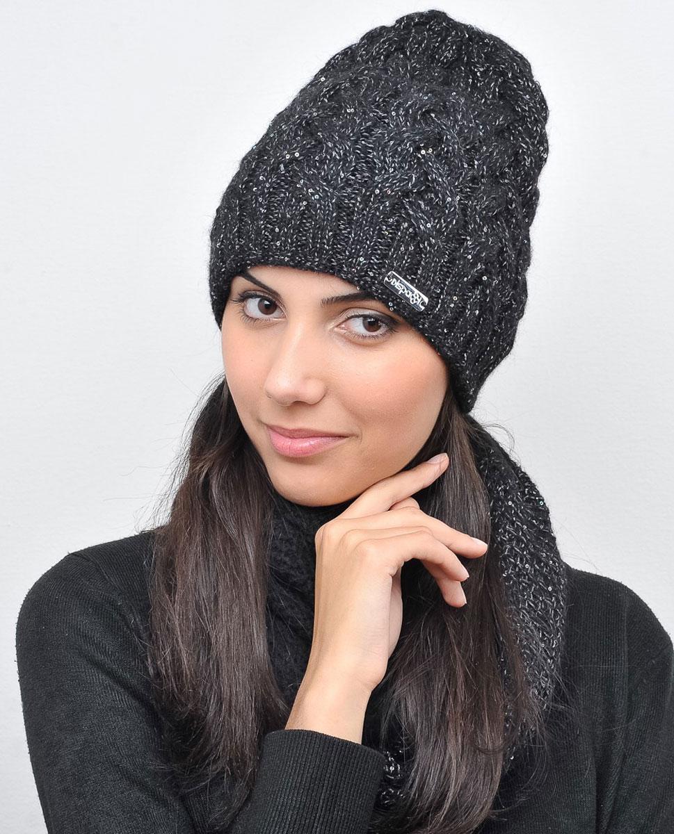 Шапка женская Dispacci Виттория, цвет: серый. 21014K. Размер 5821014KУдлиненная женская шапка Dispacci Виттори, выполненная из высококачественной шерсти, согреет вас в холодную погоду. Вязка в резинку по нижнему краю изделия обеспечивает удобную посадку. Модель фактурной вязки декорирована переливающимися пайетками по всей поверхности. Мягкий, уютный, модный головной убор станет отличным дополнением к вашему гардеробу.