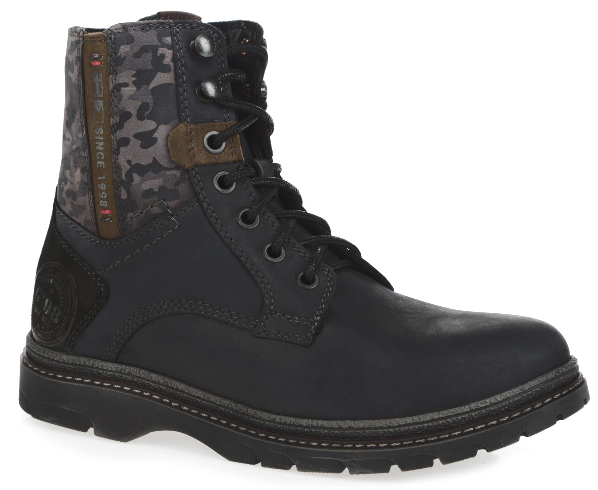 Ботинки для мальчика Kapika, цвет: темно-синий, черный, коричневый. 64049-1. Размер 3964049-1Модные детские ботинки для мальчика Kapika, выполненные из натуральногонубука, оформлены сбоку на голенище принтом камуфляж. Подкладка и съемнаястелька, исполненные из натурального меха, защитят ноги от холода и обеспечаткомфорт. Верх изделия оформлен шнуровкой, которая надежно фиксирует обувьна ноге и регулирует объем. Язычок декорирован оригинальной нашивкой. Назаднике и на одной из боковых сторон модель оформлена надписями.Ботинки застегиваются на застежку-молнию, расположенную сбоку. Подошва спротектором гарантирует идеальное сцепление с любой поверхностью. Стильныеботинки займут достойное место в гардеробе вашего ребенка.