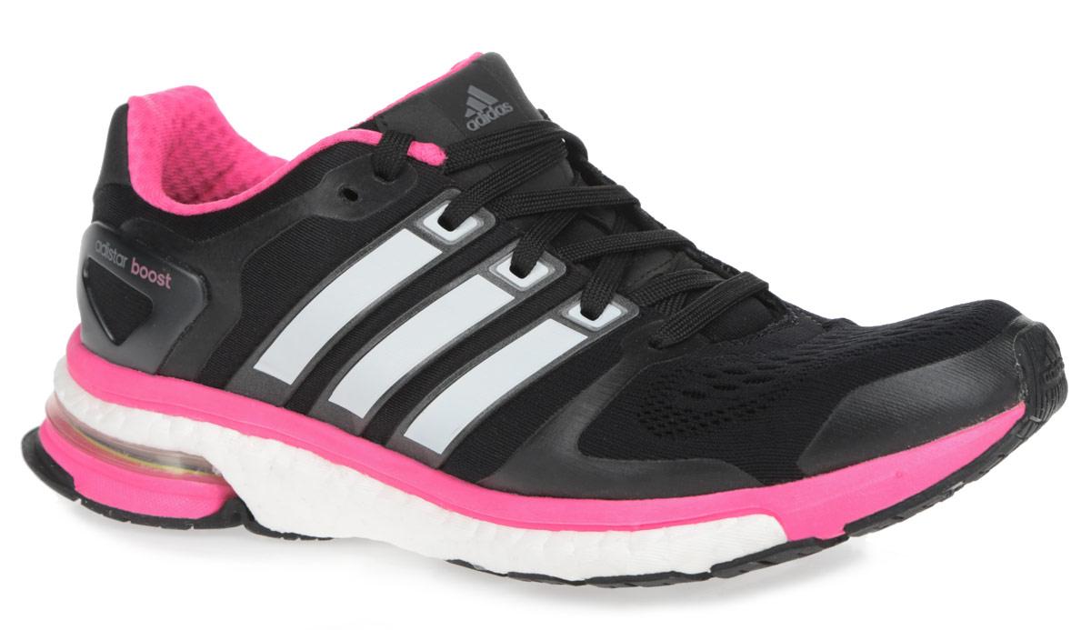 Кроссовки для бега женские Adidas Adistar Boost Esm, цвет: черный, розовый. M18853. Размер 8 (40,5)M18853Дышащие женские кроссовки для бега от Adidas Adistar Boost отлично подойдут как для занятий в зале, так и для пробежки на улице. Модель, выполненная из комбинации текстиля с бесшовной сеткой в передней части кроссовок и искусственных материалов, дарит комфорт и легкость во время ходьбы или бега. Верх изделия оформлен частой шнуровкой, которая надежно фиксирует обувь на ноге. Подкладка и стелька, исполненные из текстиля, обеспечат уют ногам. Уникальный дизайн в сочетании с технологией boost, в промежуточной части подошвы, обеспечивает максимум энергии во время тренировки. Конструкция пятки эффективно поглощает силу удара при каждом шаге, а вставка Torsion System поддерживает свод стопы. По бокам кроссовки декорированы тремя фирменными полосками, а на язычке и заднике тиснением в виде логотипа бренда. Подошва, изготовленная из гибкой резины Continental, обеспечит прочное сцепление с любой поверхностью. Удобные кроссовки - выбор истинных ценителей активного образа жизни.