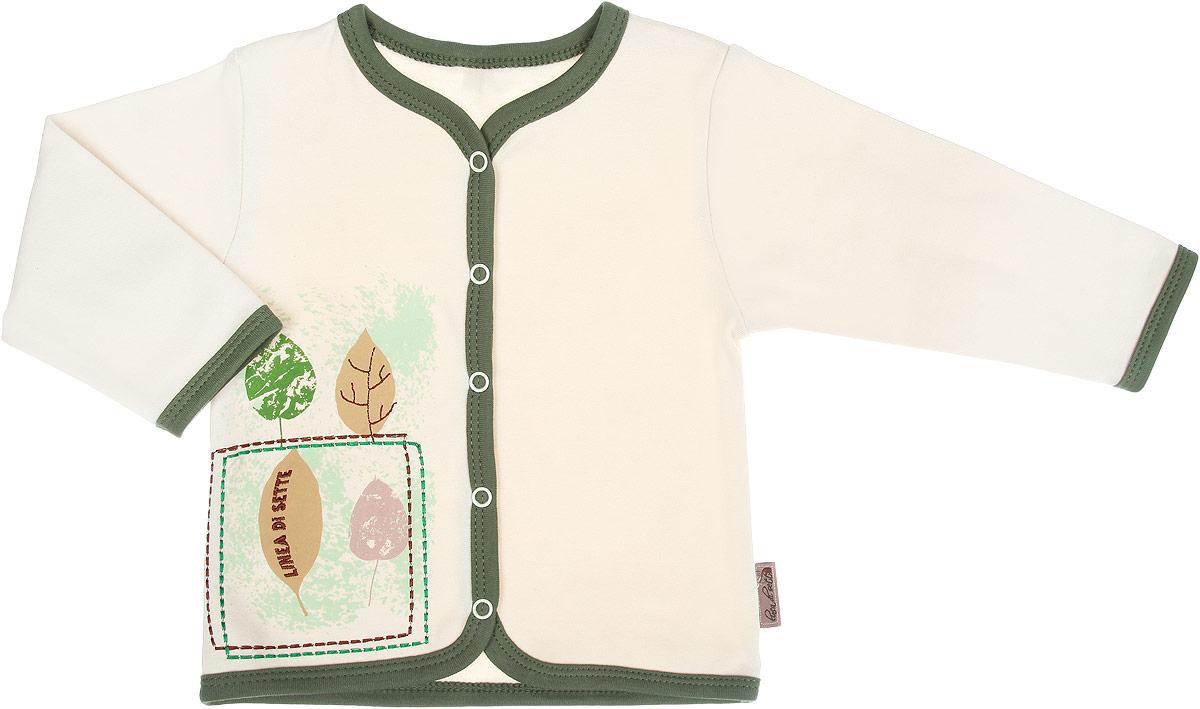 Кофточка Linea Di Sette Ботаника, цвет: бежевый, зеленый. 05-0701. Размер 74, 9-12 месяцев05-0701Кофточка Linea Di Sette Зайка станет отличным дополнением к гардеробу вашего ребенка. Изделие изготовлено из высококачественного органического полотна в соответствии с принятыми стандартами. Органический хлопок - это безвредная альтернатива традиционному хлопку, ткани из него не вредят нежной коже малыша, а также их производство безопасно для окружающей среды. Органический хлопок очень мягкий, отлично пропускает воздух, обеспечивая максимальный комфорт. Кофточка с V-образным вырезом горловины и длинными рукавами застегивается спереди на кнопки по всей длине, что позволяет с легкостью переодеть ребенка. Модель оформлена принтом с изображением листочков, а также украшена вышивкой. Кофточка полностью соответствует особенностям жизни ребенка в ранний период, не стесняя и не ограничивая его в движениях. В ней ваш младенец всегда будет в центре внимания.