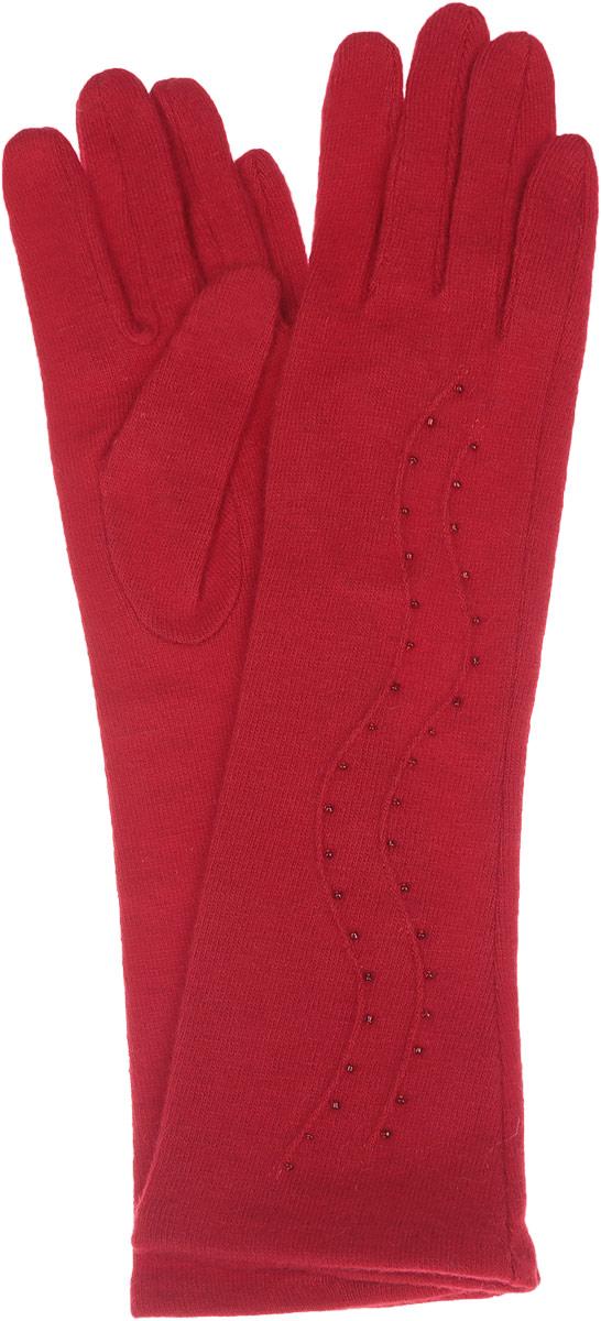 Перчатки женские Labbra, цвет: красный. LB-PH-75L. Размер M (7,5)LB-PH-75LЭлегантные удлиненные женские перчатки Labbra станут великолепным дополнением вашего образа и защитят ваши руки от холода и ветра во время прогулок.Перчатки выполнены из шерсти с добавлением акрила и ангоры, что позволяет им надежно сохранять тепло и обеспечивает удобство и комфорт при носке. Модель оформлена вышивкой мелким бисером и объемными волнообразными полосками на манжете. Такие перчатки будут оригинальным завершающим штрихом в создании современного модного образа, они подчеркнут ваш изысканный вкус и станут незаменимым и практичным аксессуаром.