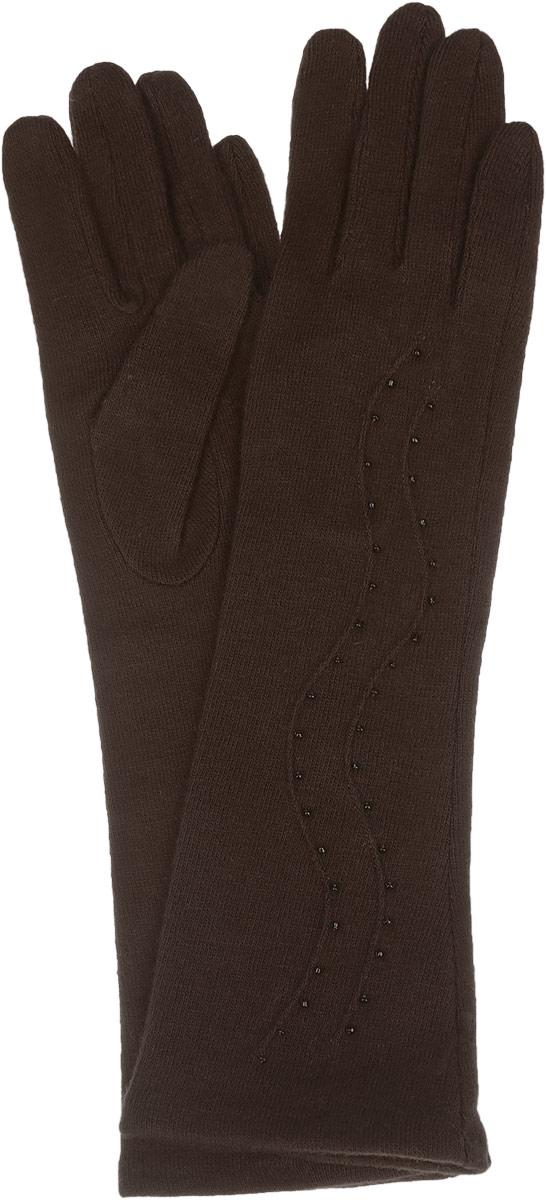 Перчатки женские Labbra, цвет: коричневый. LB-PH-75L. Размер M (7,5)LB-PH-75LЭлегантные удлиненные женские перчатки Labbra станут великолепным дополнением вашего образа и защитят ваши руки от холода и ветра во время прогулок.Перчатки выполнены из шерсти с добавлением акрила и ангоры, что позволяет им надежно сохранять тепло и обеспечивает удобство и комфорт при носке. Модель оформлена вышивкой мелким бисером и объемными волнообразными полосками на манжете. Такие перчатки будут оригинальным завершающим штрихом в создании современного модного образа, они подчеркнут ваш изысканный вкус и станут незаменимым и практичным аксессуаром.