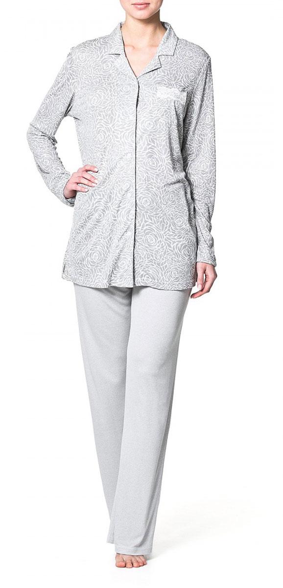 Рубашка женская Ardi, цвет: серый, белый. R1550-54. Размер 38 (44)R1550-54Домашняя рубашка Ardi, выполненная из вискозы с модалом, очень мягкая приятная на ощупь, позволяет коже дышать. Модель прямого кроя с длинными рукавами и мягким отложным воротником оформлена нежным цветочным принтом. Спереди рубашка застегивается до низа на пластиковые пуговицы.Спереди изделие дополнено нагрудным накладным карманом с отделкой из тонкого кружева. В такой рубашке вам будет уютно и легко!