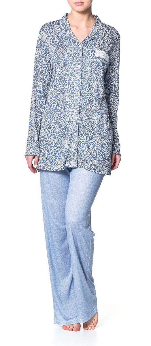 Рубашка женская Ardi, цвет: синий, белый. R1550-54. Размер 44 (50)R1550-54Домашняя рубашка Ardi, выполненная из вискозы с модалом, очень мягкая приятная на ощупь, позволяет коже дышать. Модель прямого кроя с длинными рукавами и мягким отложным воротником оформлена нежным цветочным принтом. Спереди рубашка застегивается до низа на пластиковые пуговицы.Спереди изделие дополнено нагрудным накладным карманом с отделкой из тонкого кружева. В такой рубашке вам будет уютно и легко!