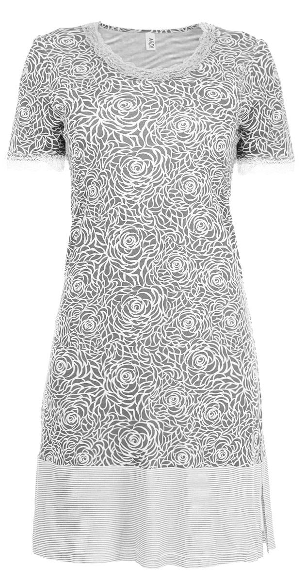 Сорочка женская Ardi, цвет: серый, белый. R1550-44. Размер 40 (46)R1550-44Ночная сорочка Ardi, выполненная из комбинированного материала, необычайно мягкая и приятная на ощупь. Модель прямого кроя с круглым вырезом горловины и короткими рукавами оформлена нежным цветочным принтом. Закругленный вырез горловины и низ рукавов украшены кружевной тесьмой. По низу сорочка оформлена широкой отделкой из ткани в полоску. В боковых швах по низу для удобства есть небольшие разрезы.